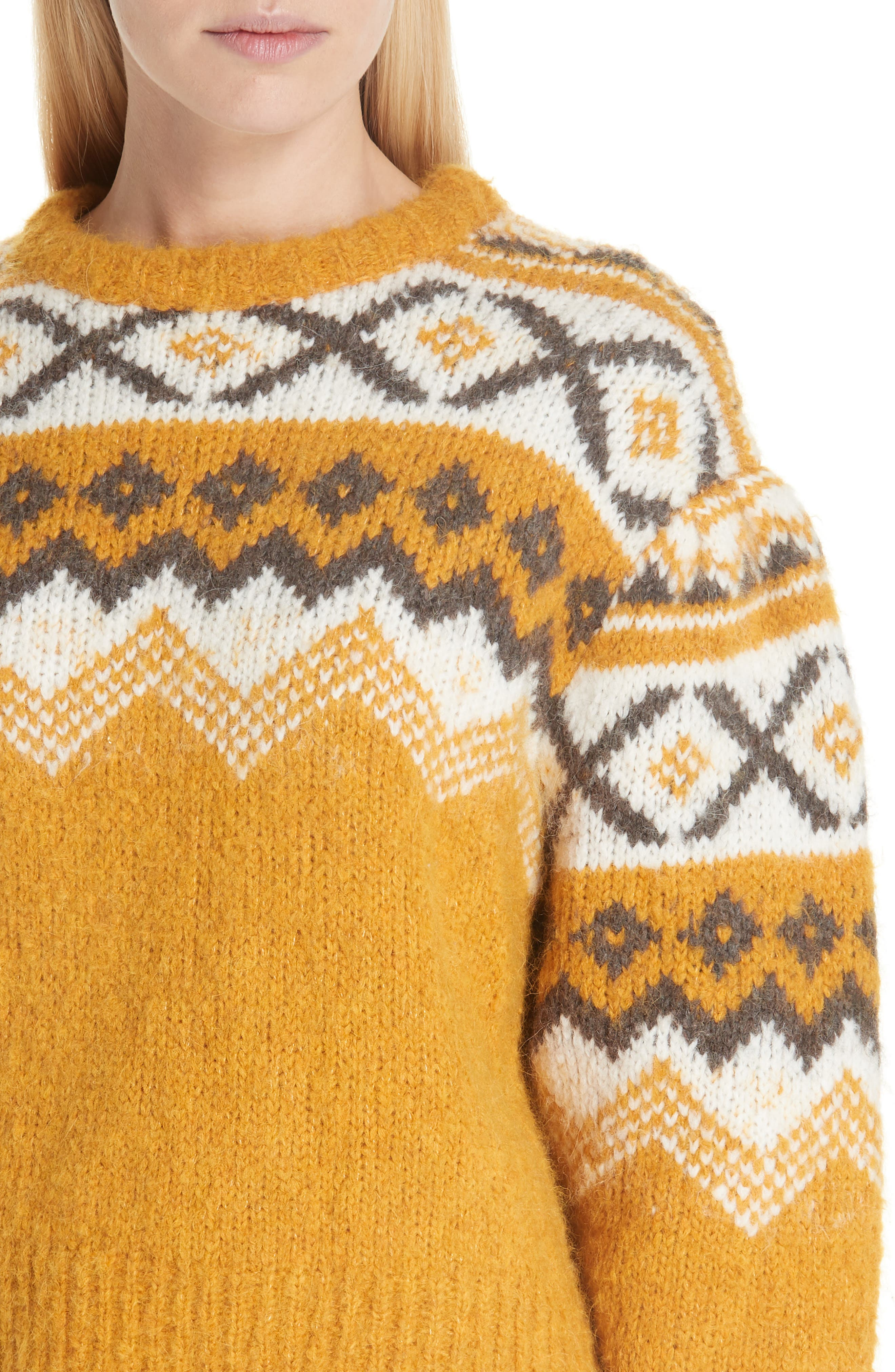 Fair Isle Shirred Sleeve Sweater,                             Alternate thumbnail 4, color,                             YELLOW