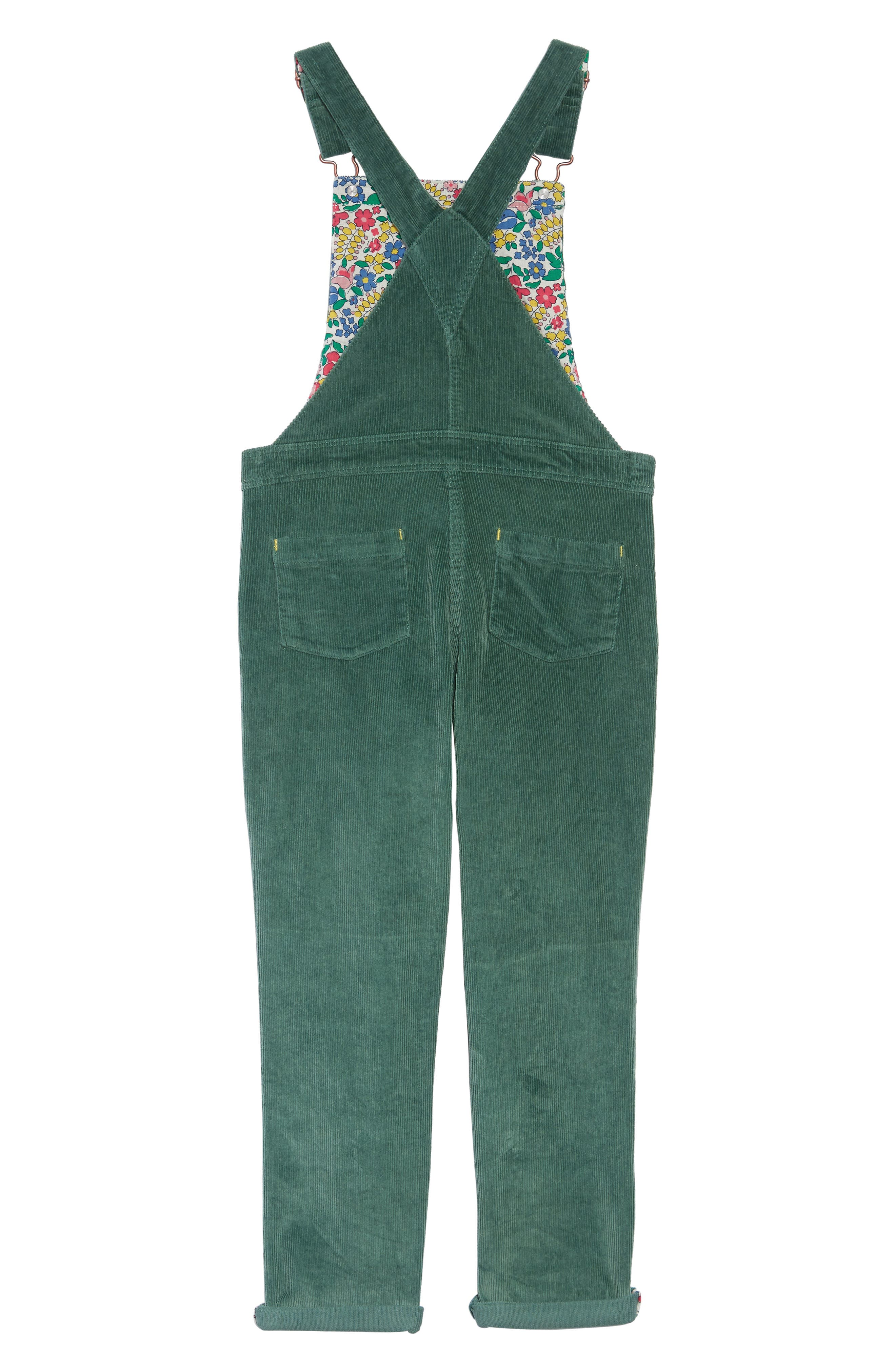 Embroidered Dungaree Overalls,                             Alternate thumbnail 2, color,                             WILLOW GREEN