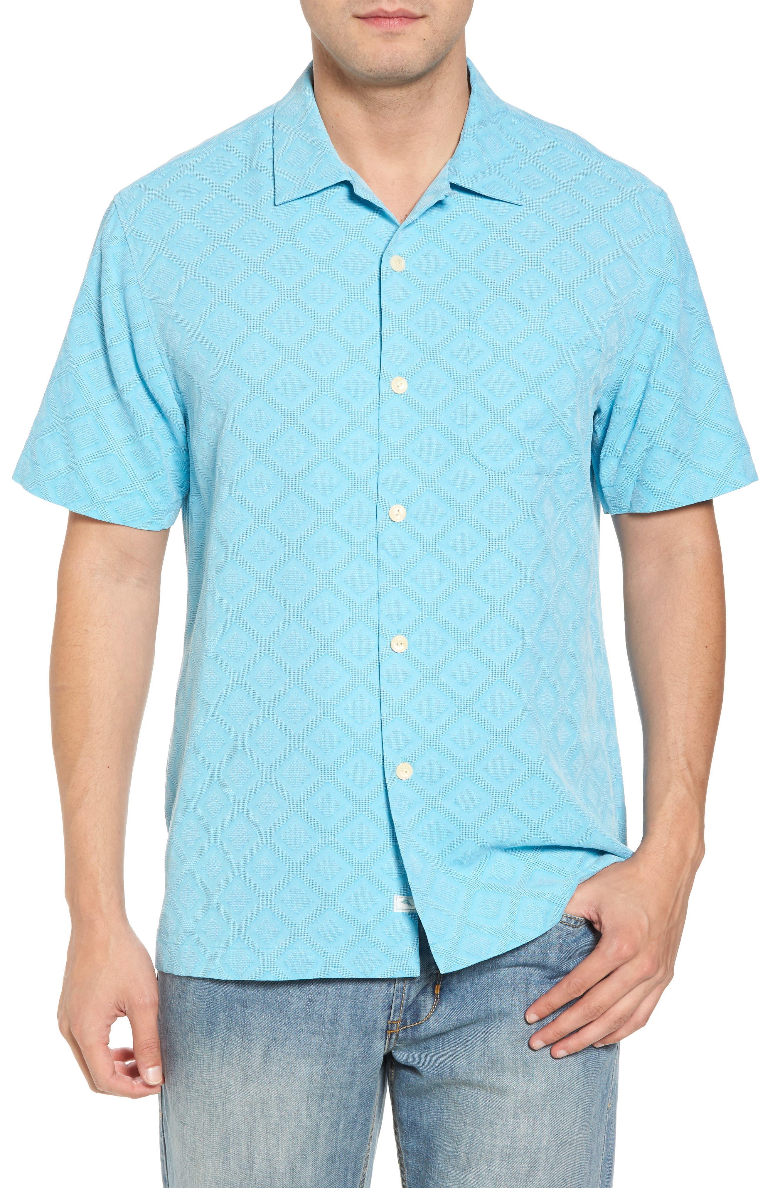 Solid Diamond Isle Silk Sport Shirt,                             Main thumbnail 2, color,
