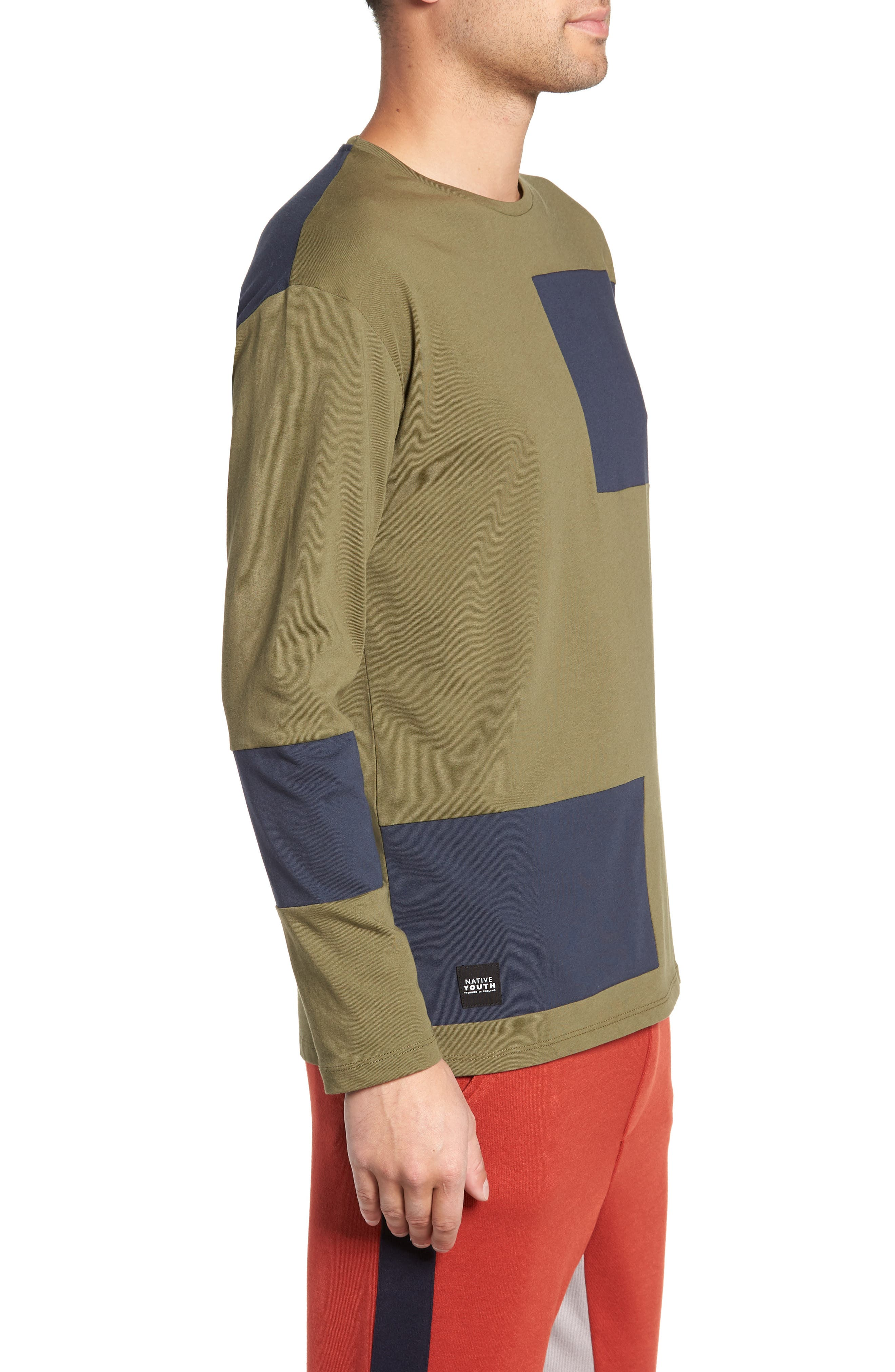 Colorblock Long Sleeve T-Shirt,                             Alternate thumbnail 3, color,                             OLIVE