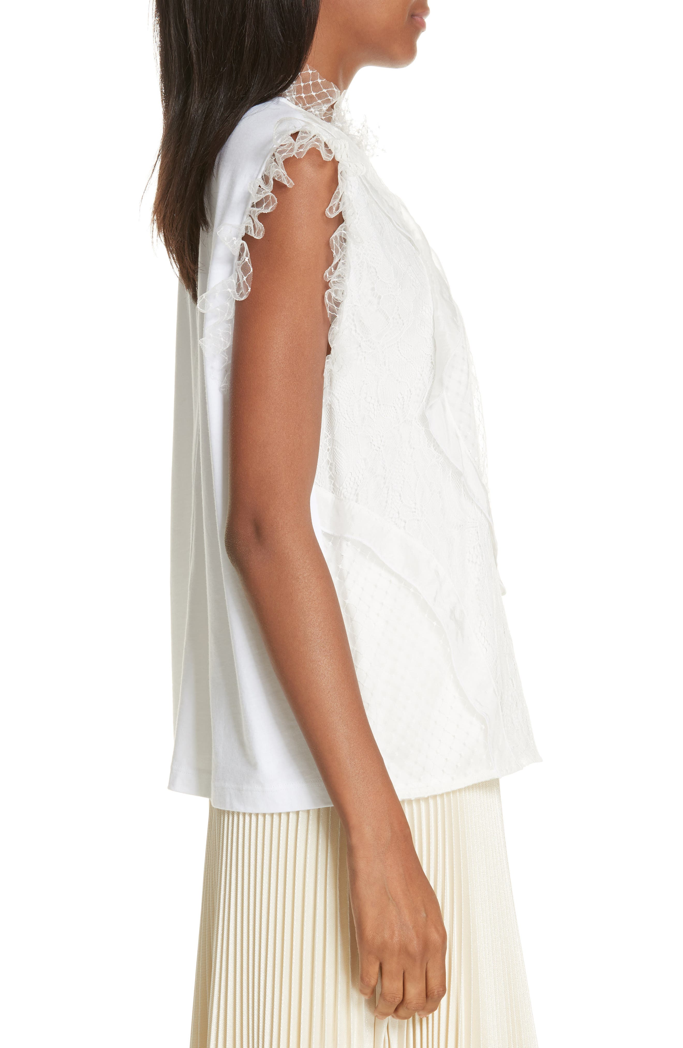 Paneled Mix Lace Sleeveless Top,                             Alternate thumbnail 3, color,                             WHITE