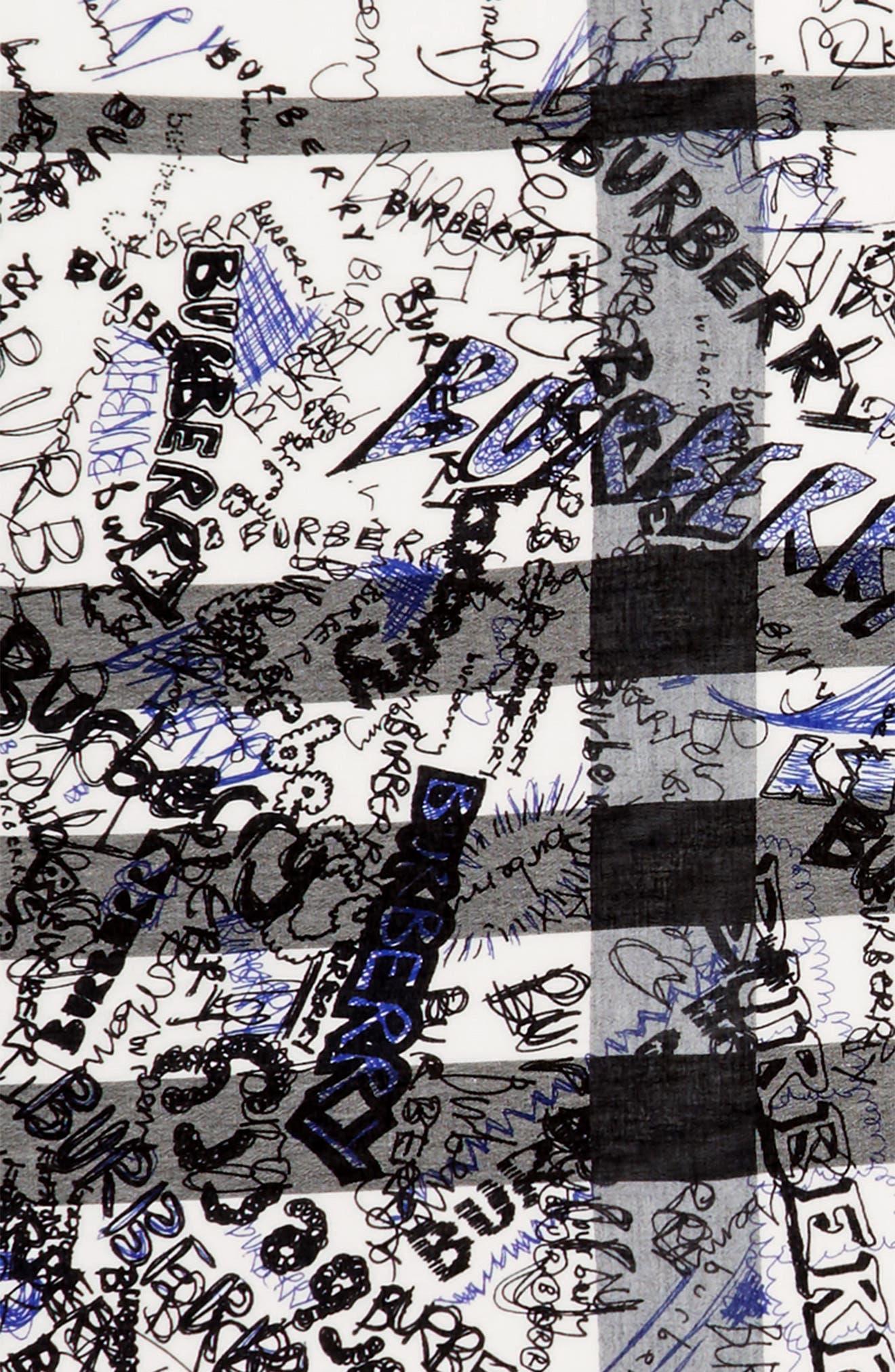 Sketchbook Text Mega Check Silk & Cotton Scarf,                             Alternate thumbnail 3, color,                             466