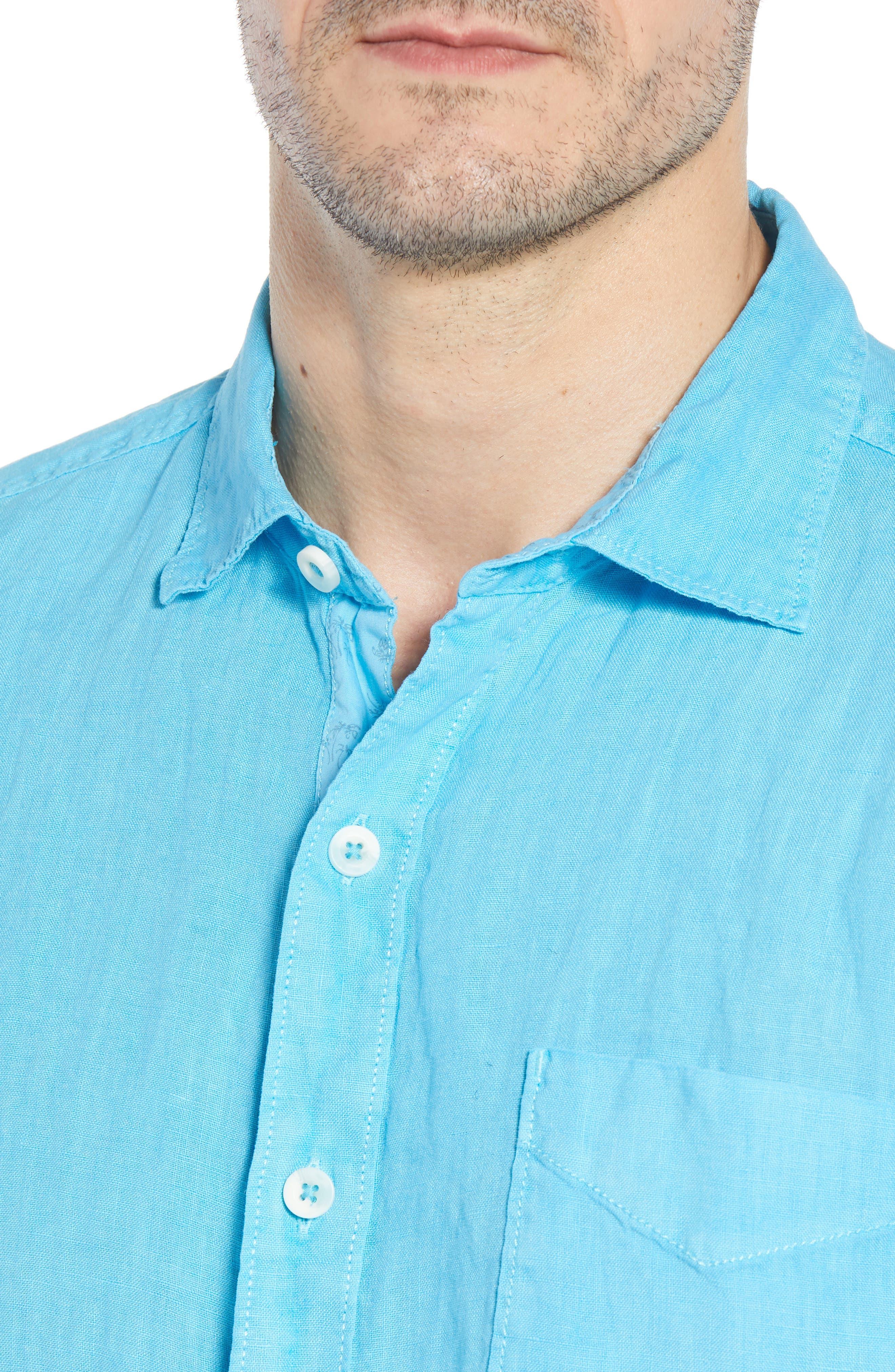 Seaspray Breezer Standard Fit Linen Sport Shirt,                             Alternate thumbnail 4, color,                             POOL PARTY BLUE