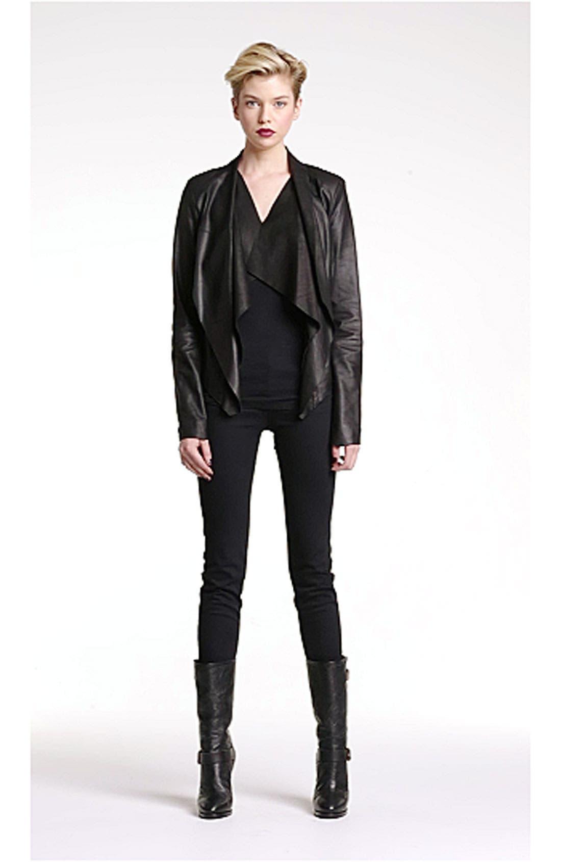 Drape Collar Leather Jacket,                             Alternate thumbnail 2, color,                             001