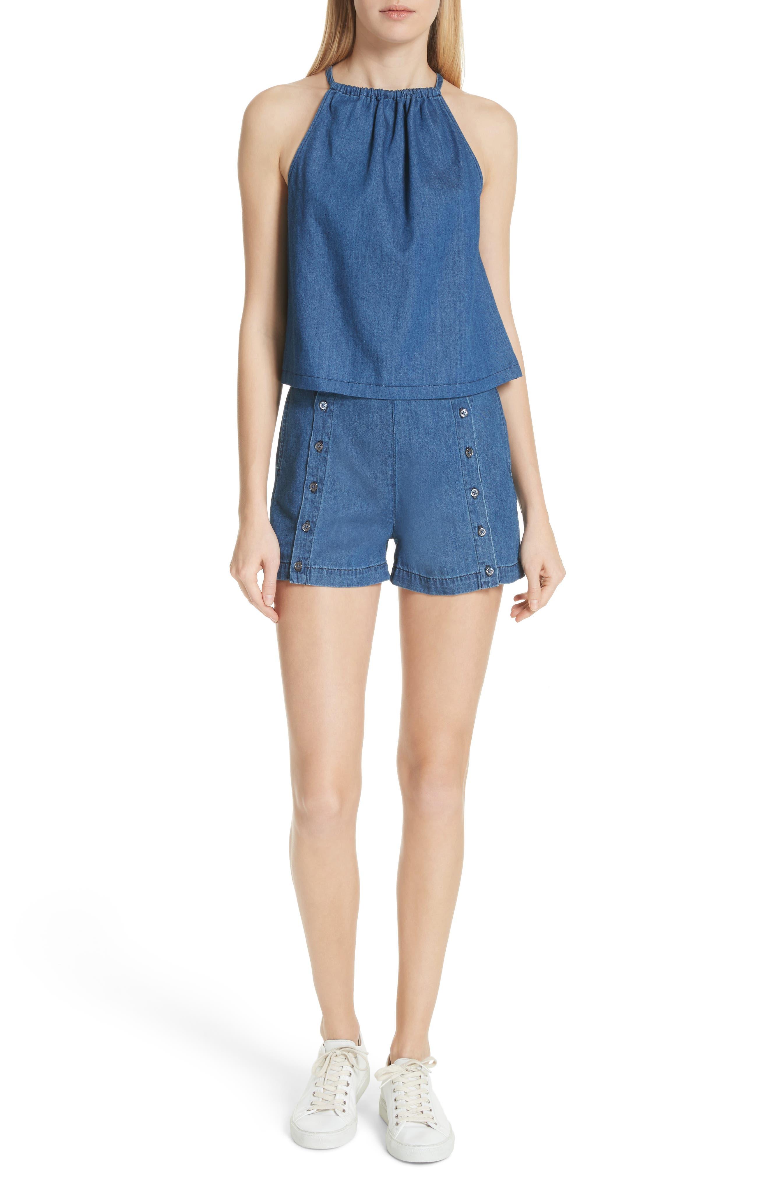 Amy Button Front Denim Shorts,                             Alternate thumbnail 7, color,                             ABELLA SHORT