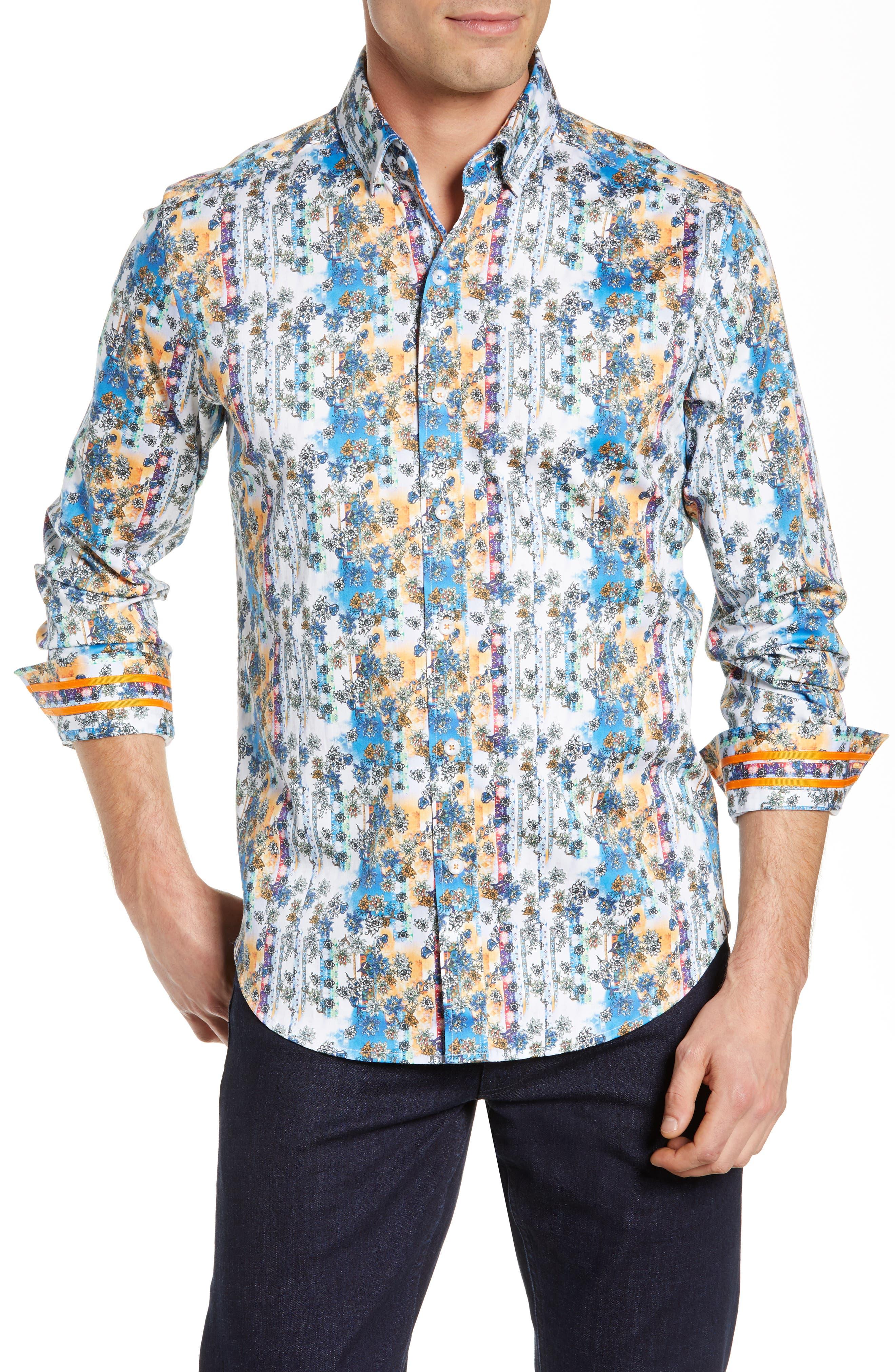 Gaspar Tailored Fit Print Sport Shirt,                         Main,                         color, MULTI ORANGE