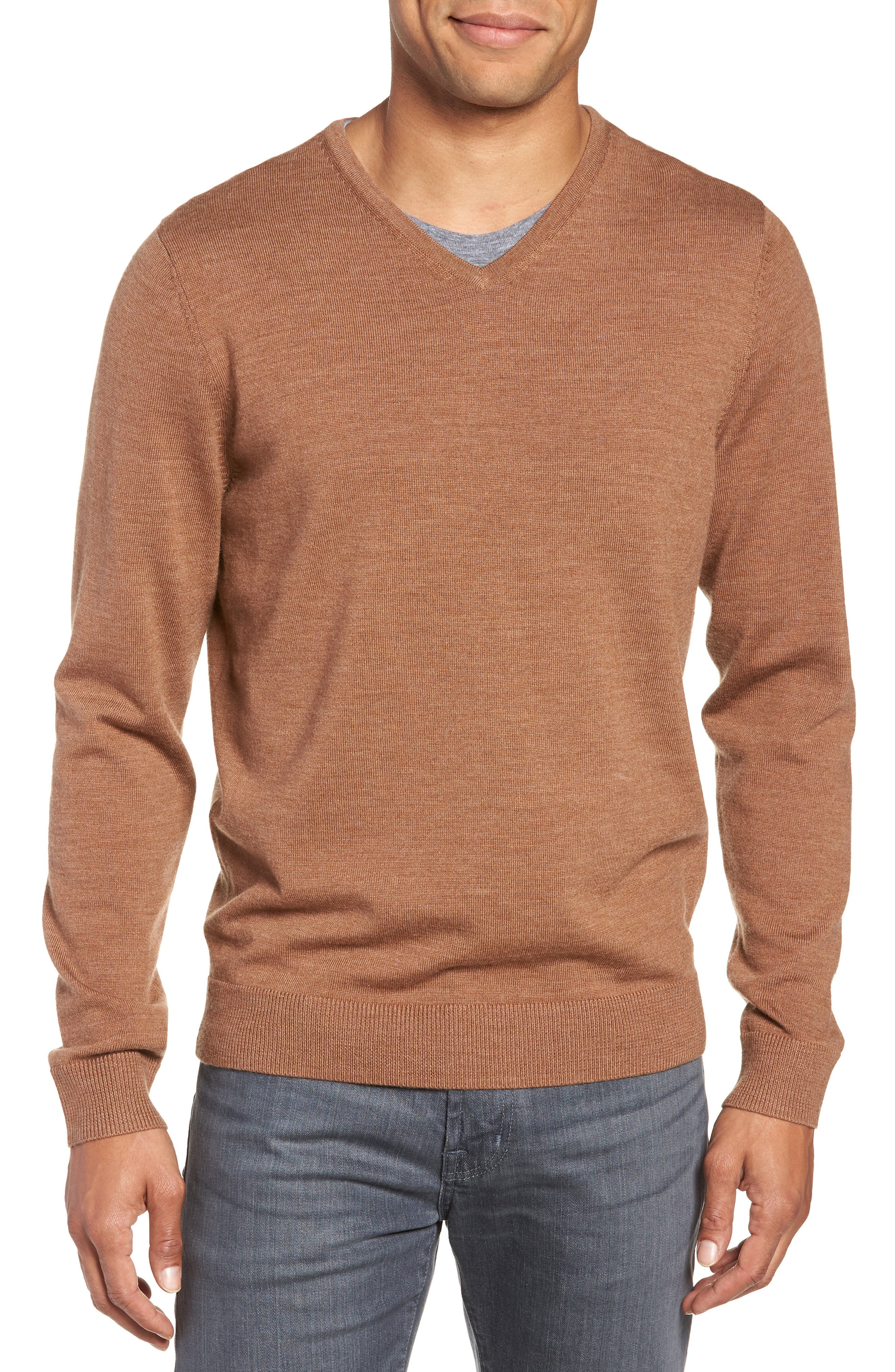 Nordstrom Shop Washable Merino Wool V-Neck Sweater, Brown
