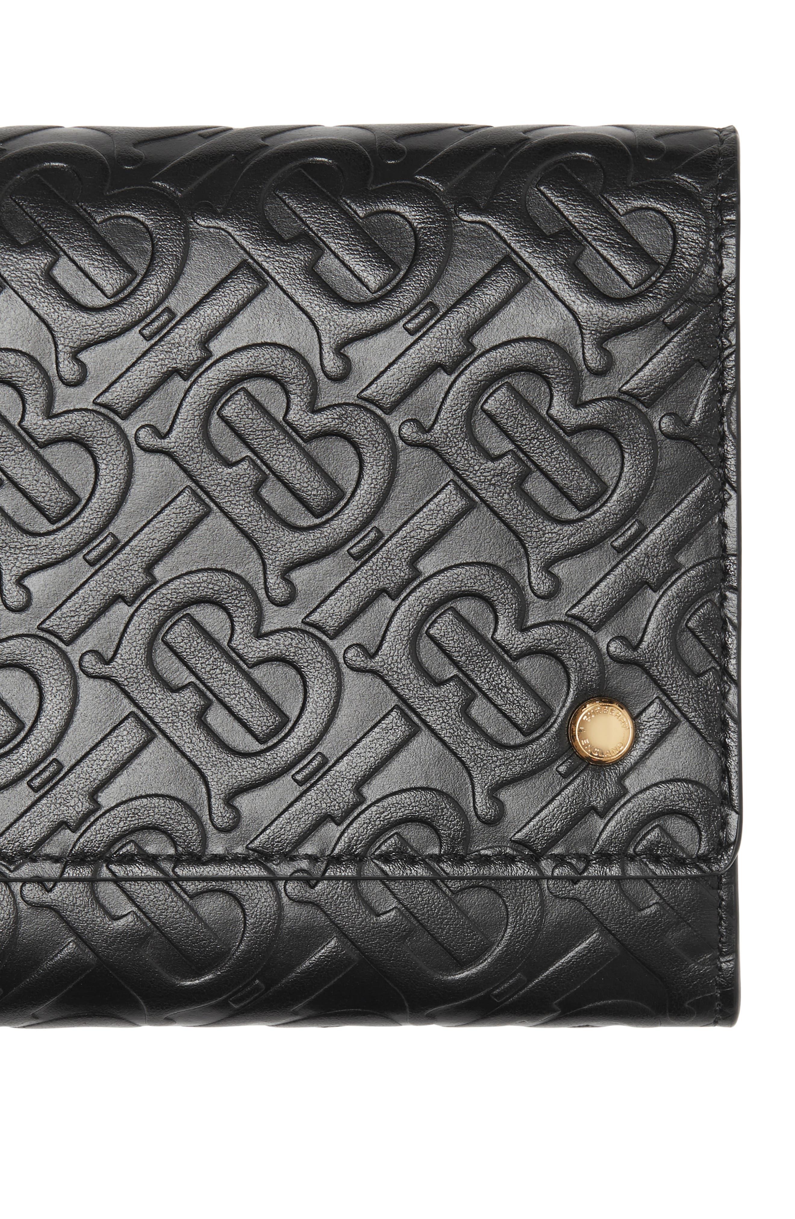 BURBERRY,                             Monogram Embossed Leather Crossbody Wallet,                             Alternate thumbnail 7, color,                             BLACK
