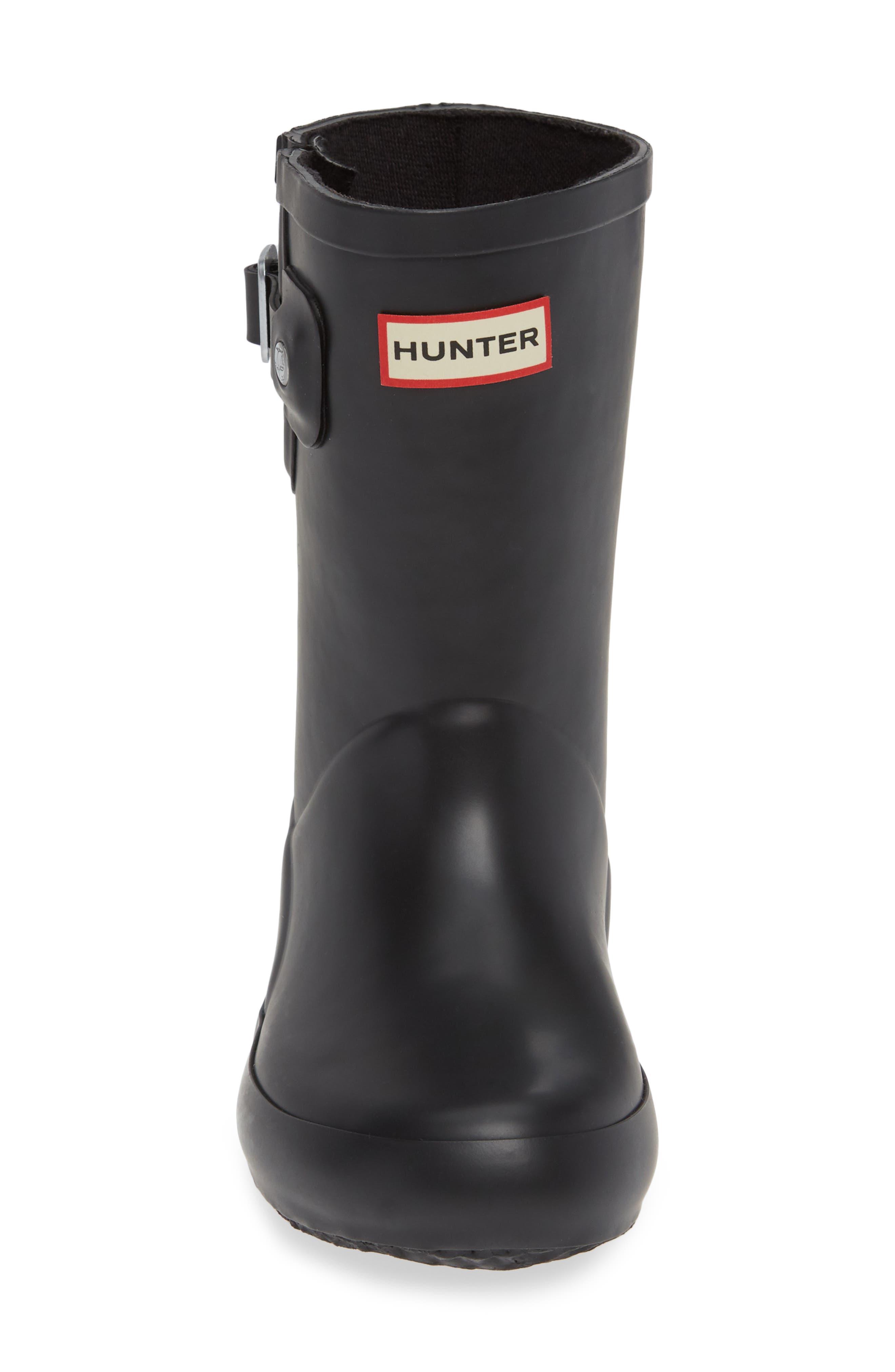 Buckle Strap Rain Boot,                             Alternate thumbnail 4, color,                             BLACK