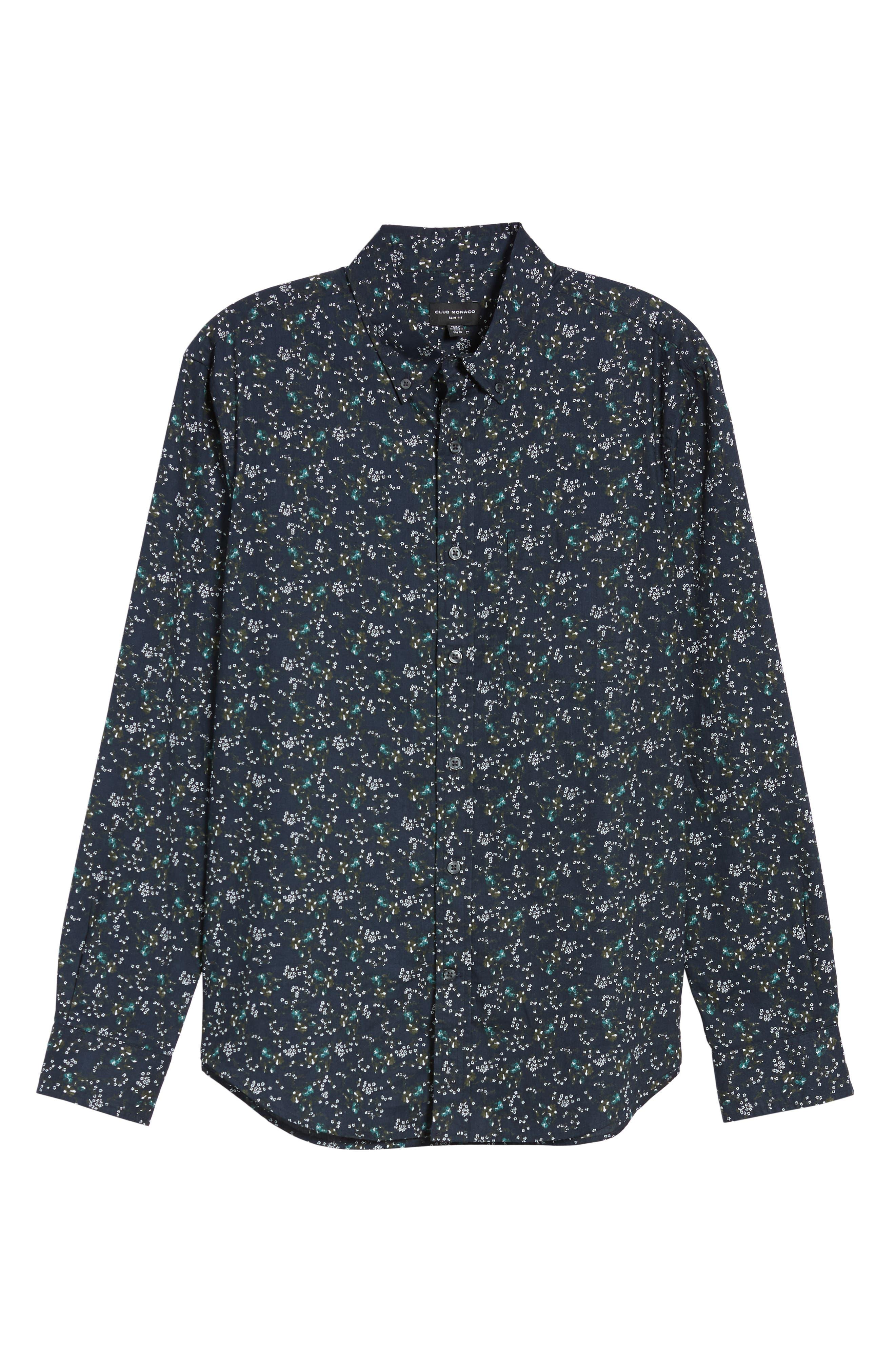 Winding Daisy Trim Fit Sport Shirt,                             Alternate thumbnail 5, color,                             NAVY MULTI