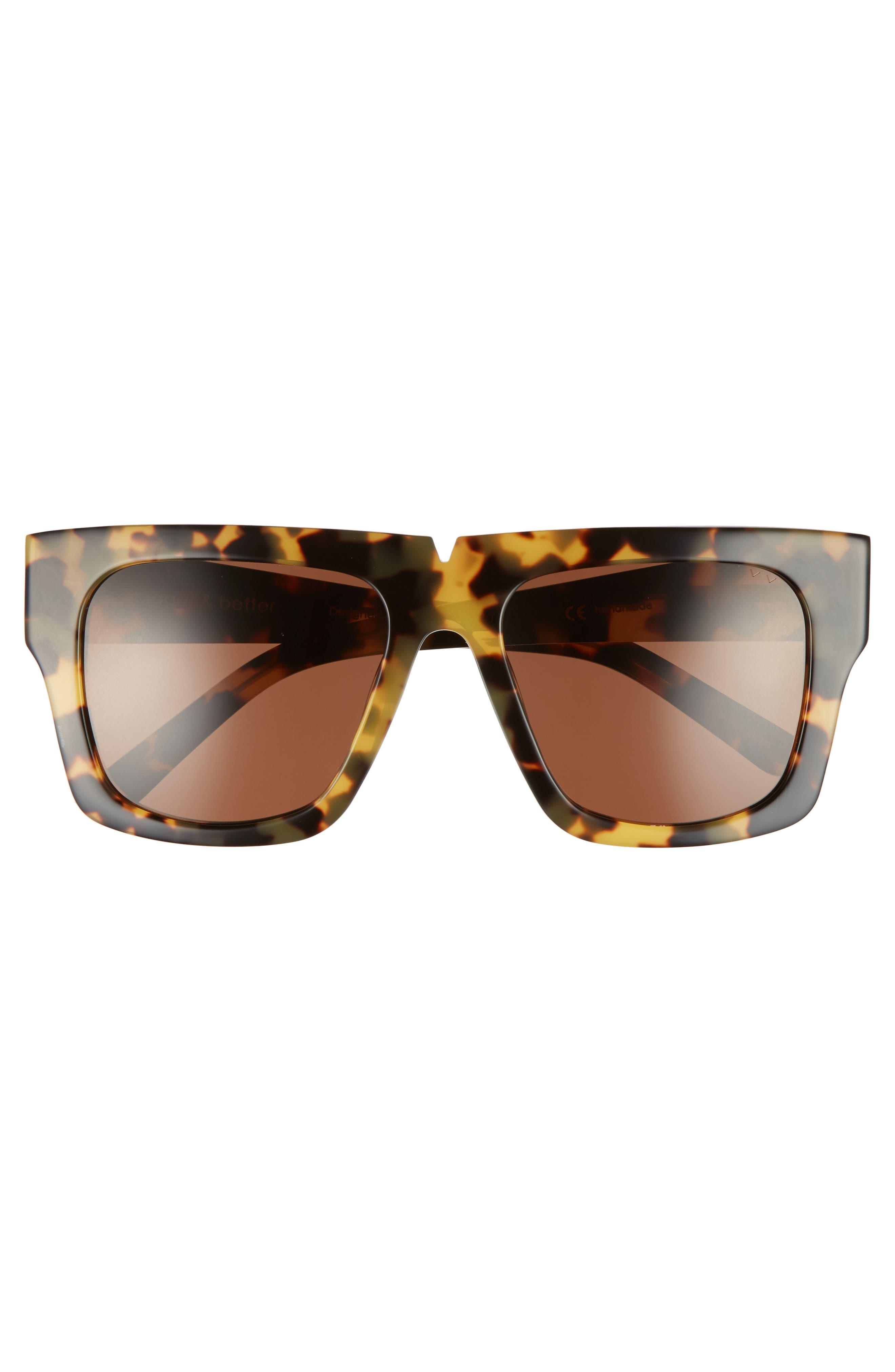 Bigger & Better 54mm Sunglasses,                             Alternate thumbnail 3, color,                             DARK TORTOISE/ BROWN