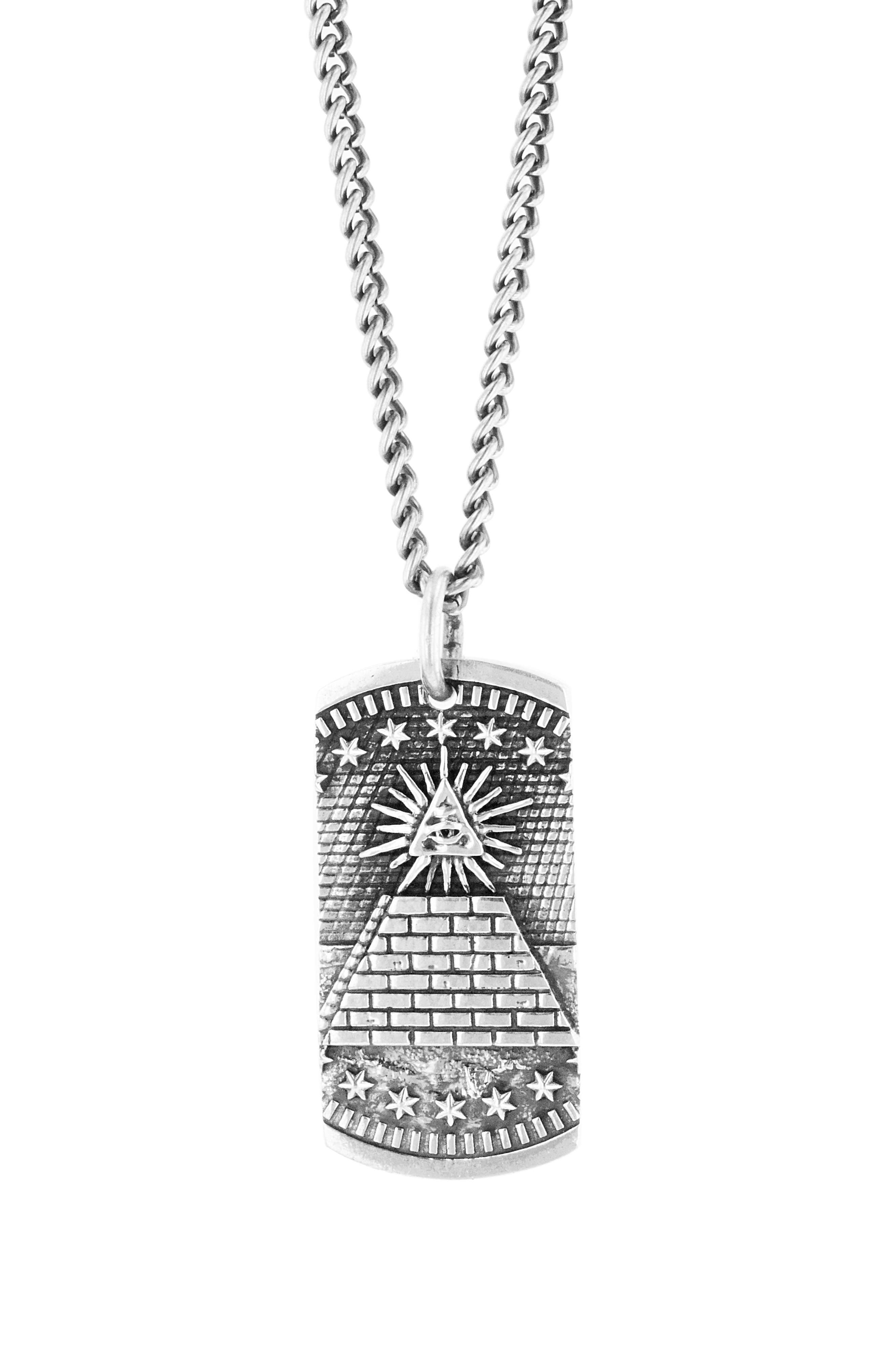KING BABY Eye Of Providence Dog Tag Necklace in Silver