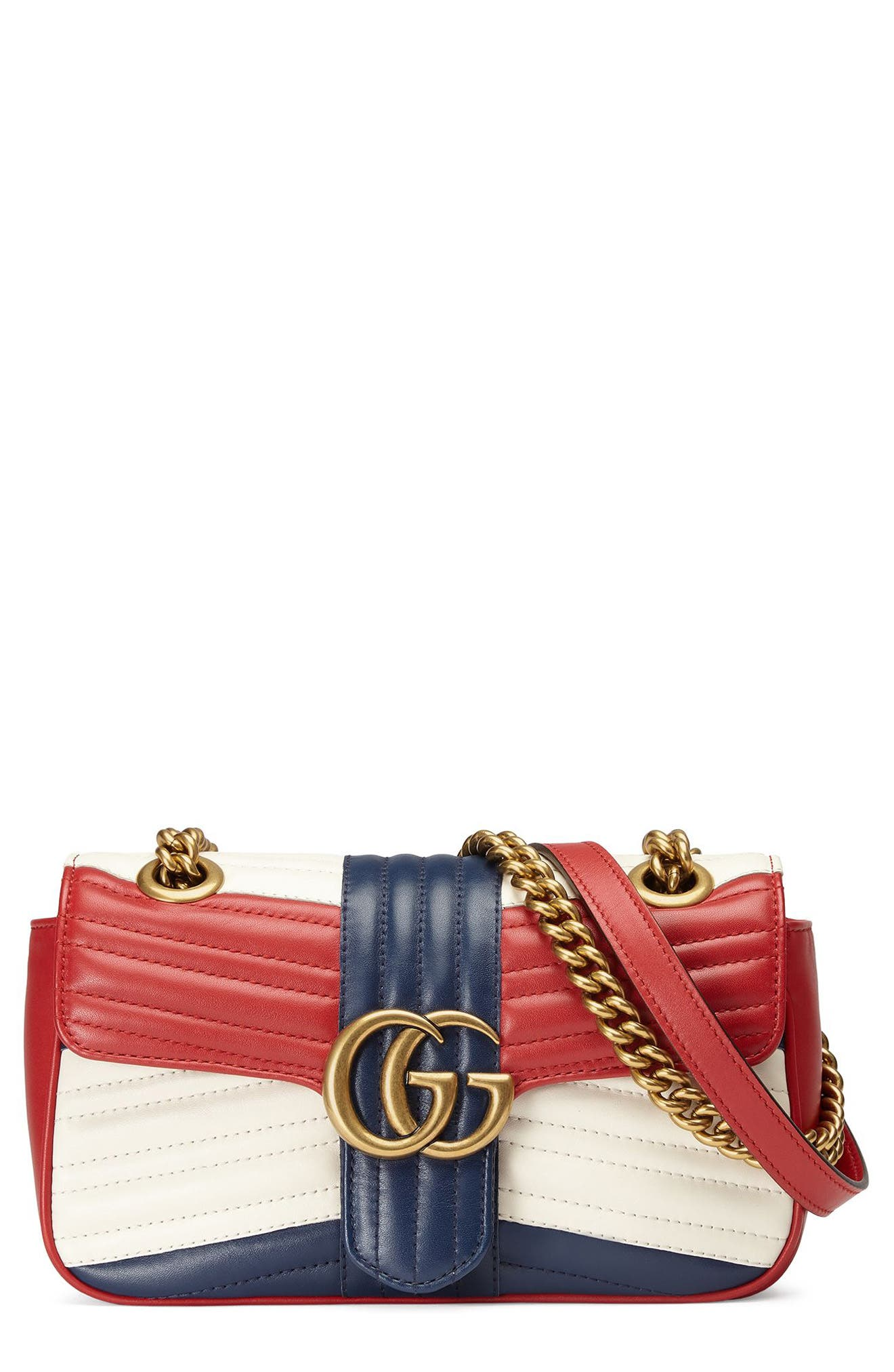 Mini GG Marmont 2.0 Tricolor Matelassé Leather Shoulder Bag,                             Main thumbnail 1, color,                             625