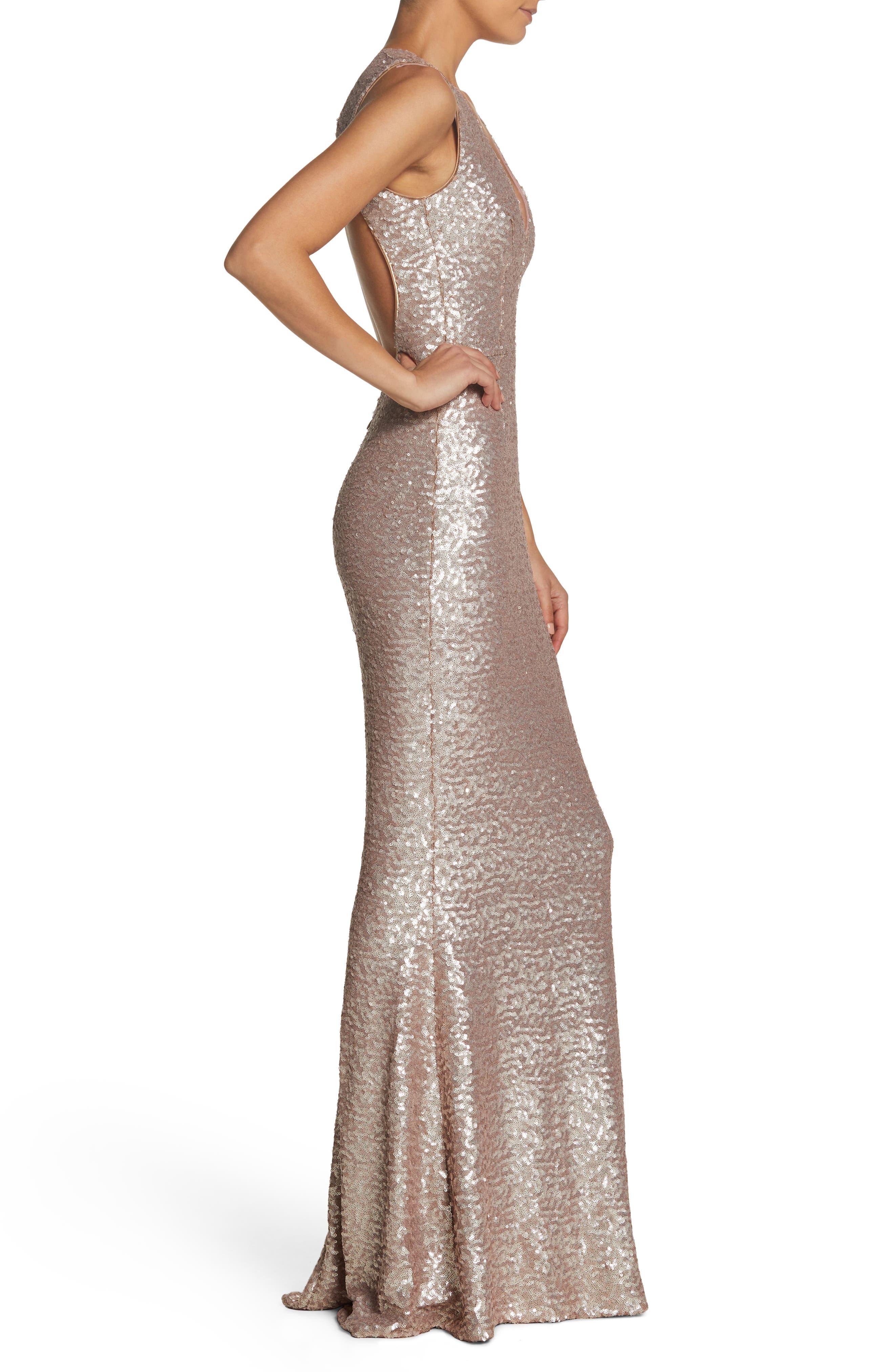 Karina Plunge Mermaid Gown,                             Alternate thumbnail 3, color,                             ICE PINK