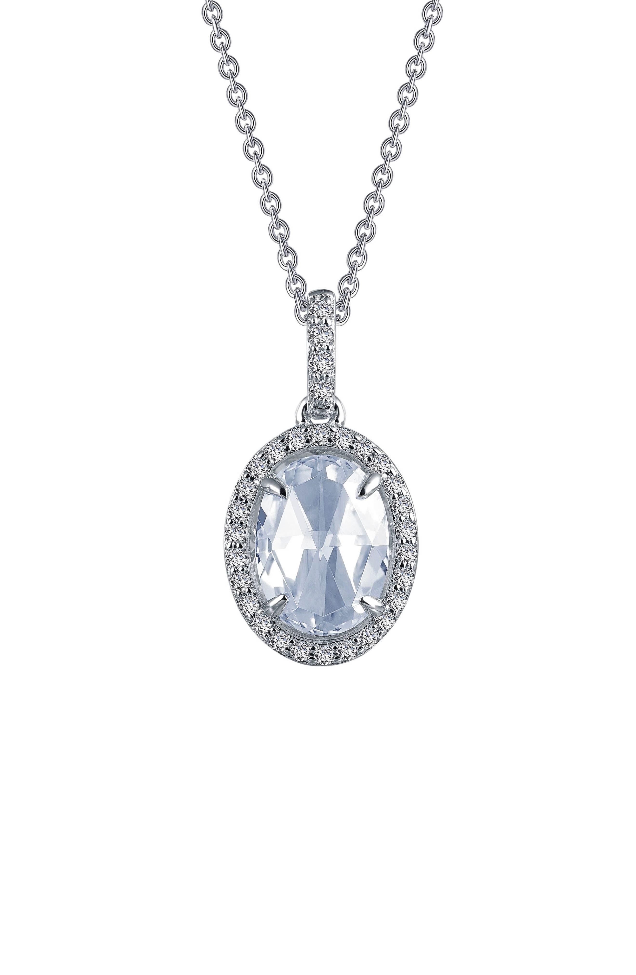 Rose Cut Simulated Diamond Pendant Necklace,                             Main thumbnail 1, color,                             SILVER