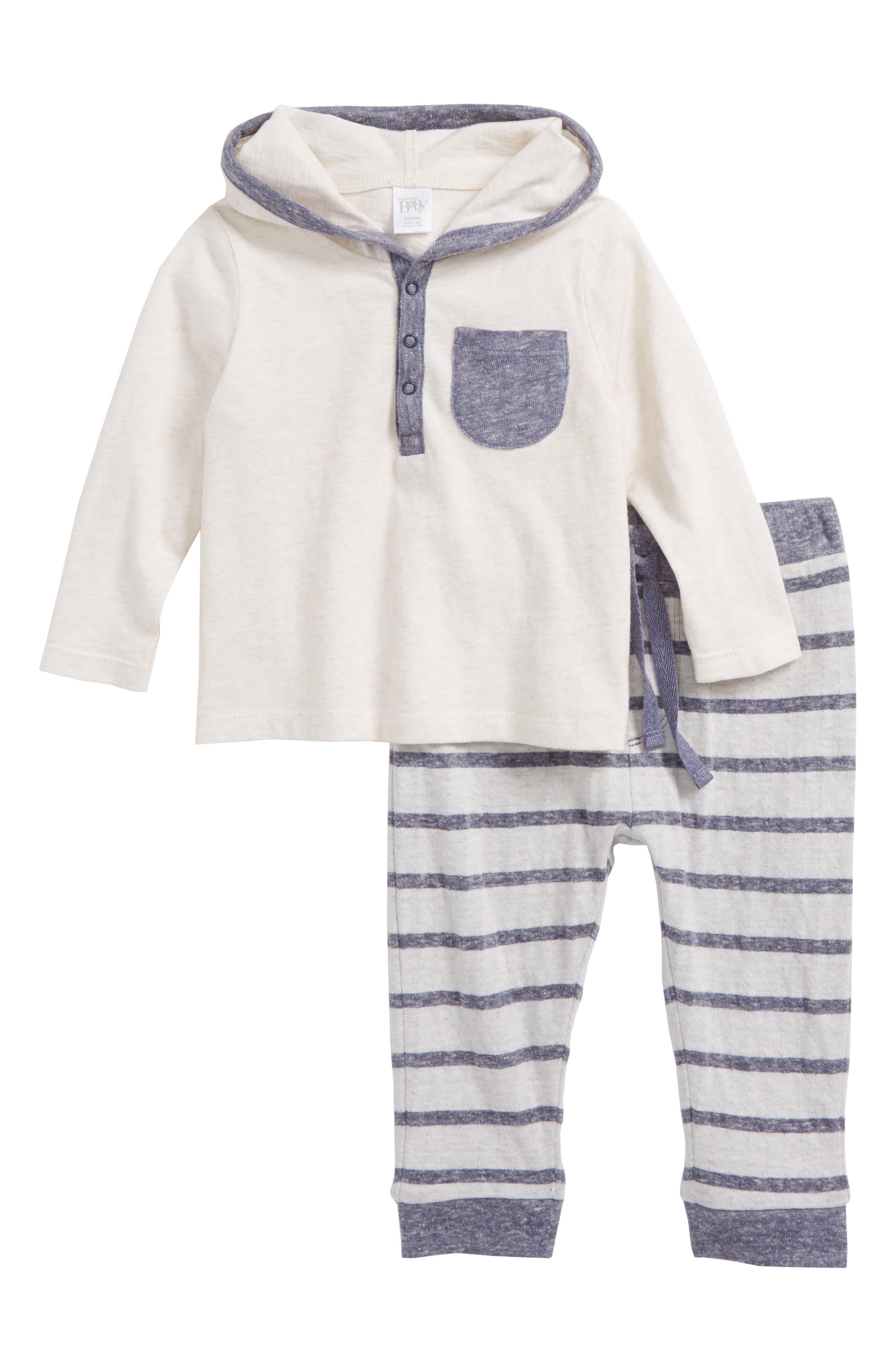 Hooded Henley T-Shirt & Stripe Pants Set,                         Main,                         color, IVORY EGRET HEATHER- NAVY