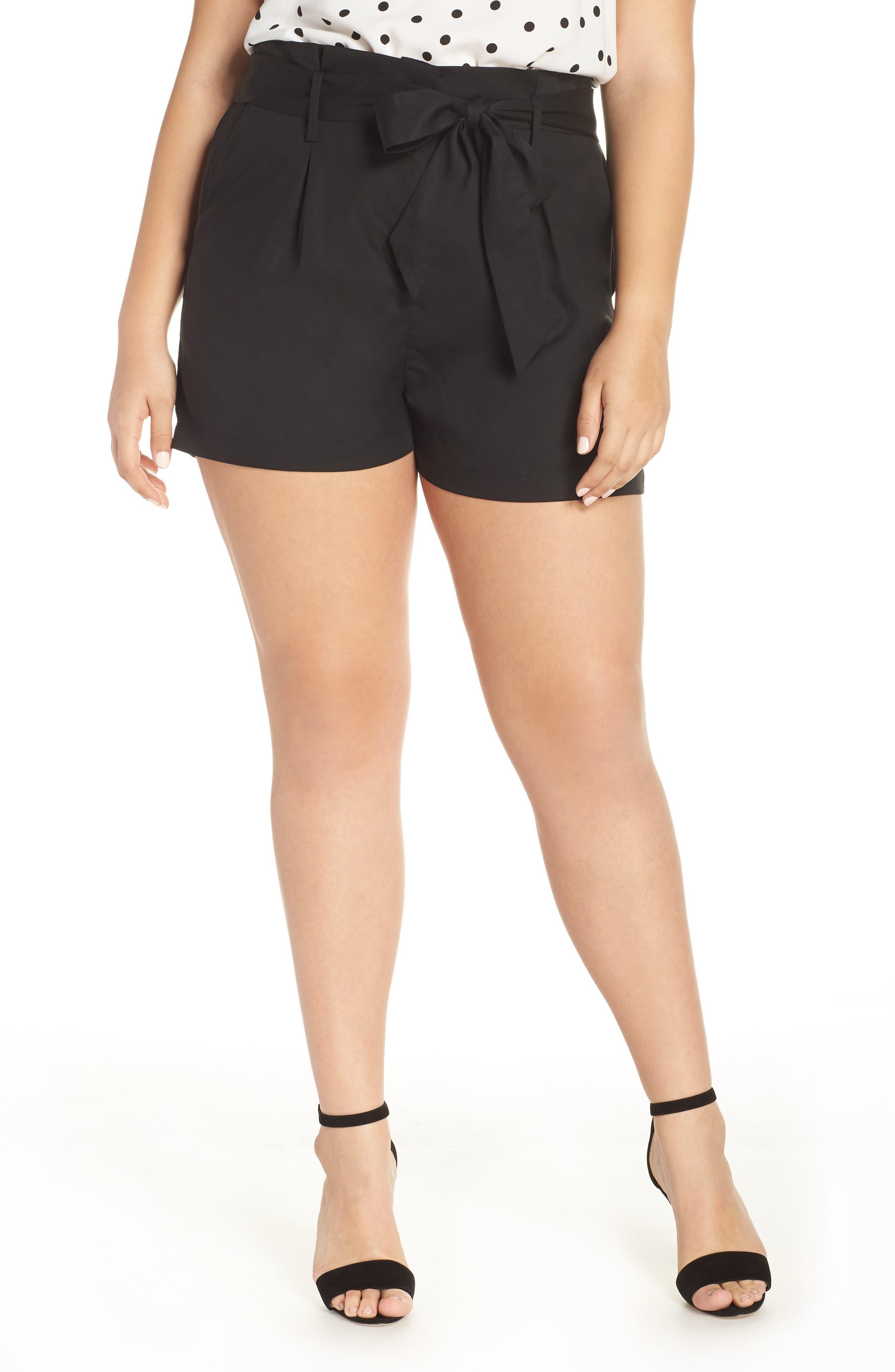 Tie Front Shorts,                             Alternate thumbnail 2, color,                             BLACK