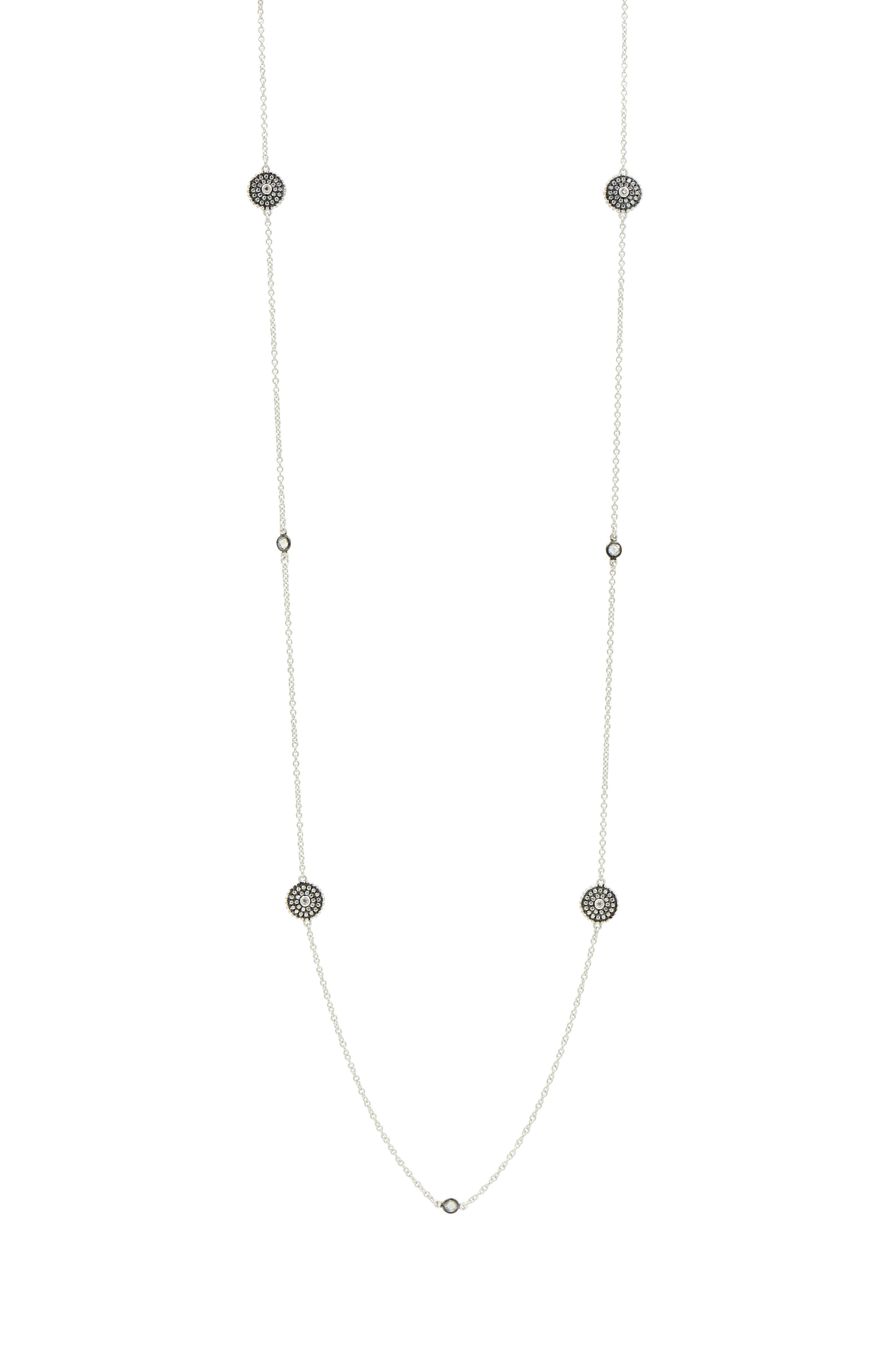 Double-Sided Pavé Disc Station Necklace,                             Alternate thumbnail 4, color,                             BLACK/ WHITE/ SILVER