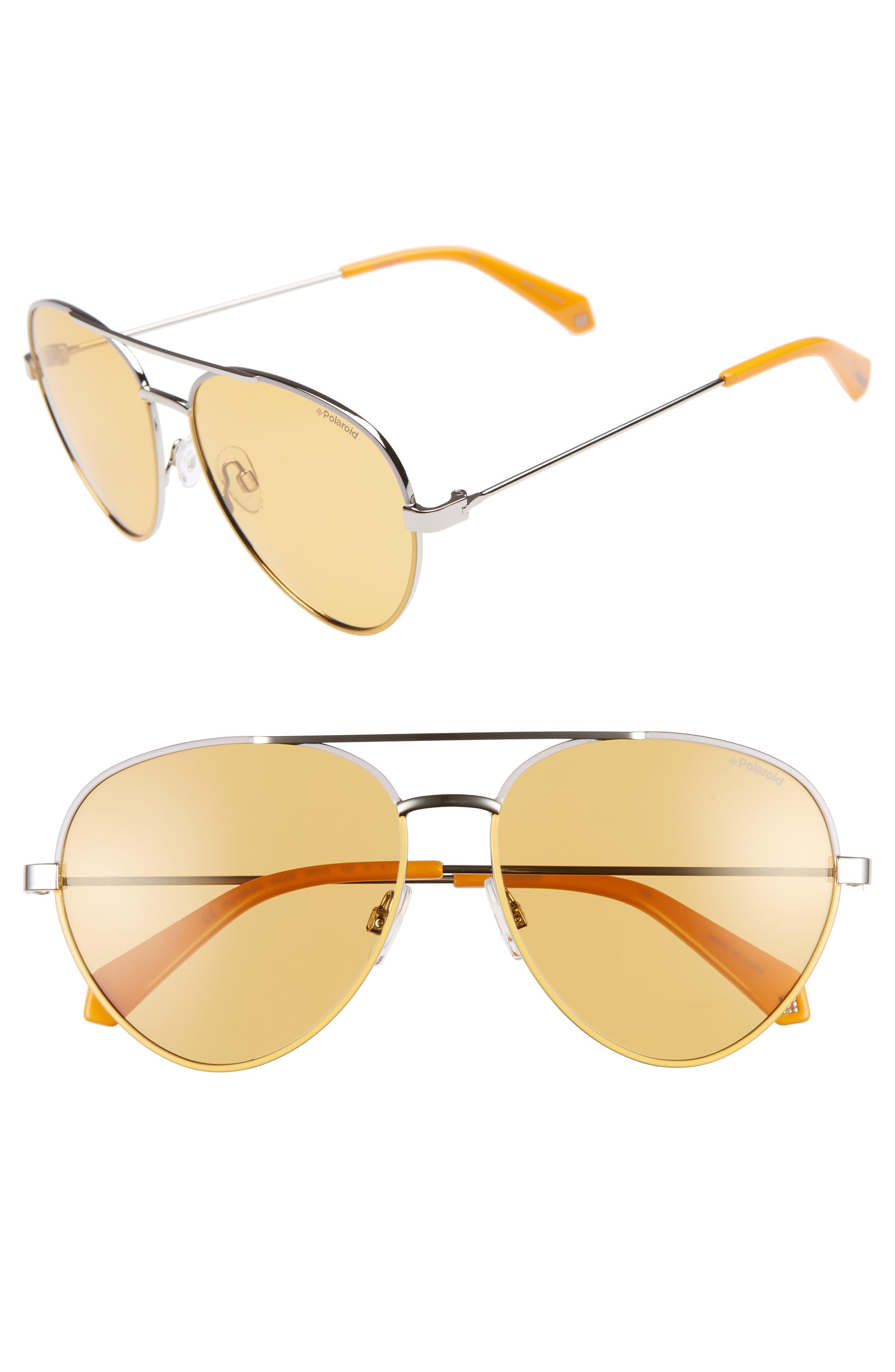 Polaroid 5m Polarized Aviator Sunglasses - Silver/ Yellow