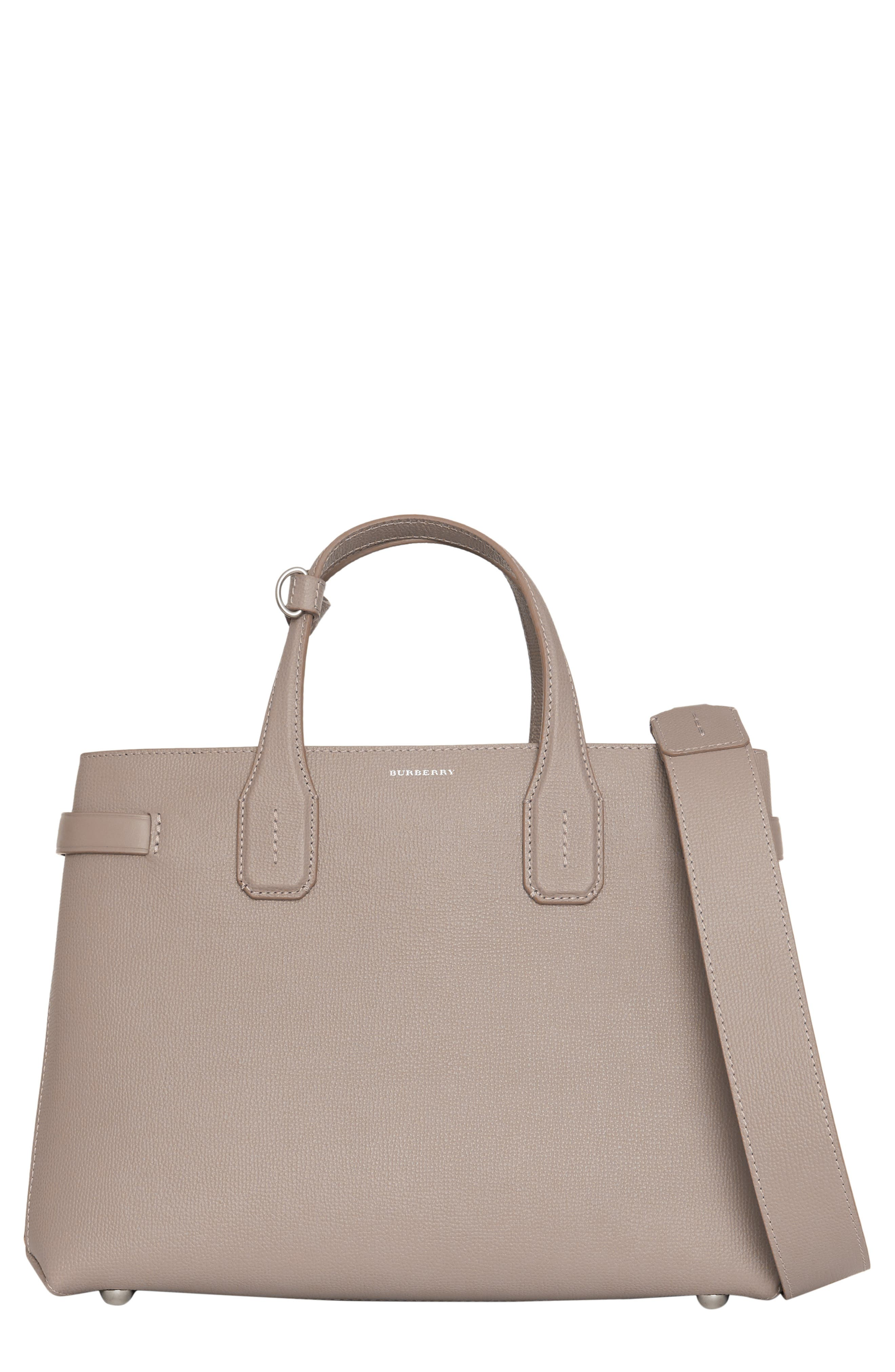 Medium Banner Leather Tote,                             Main thumbnail 1, color,                             TAUPE BROWN