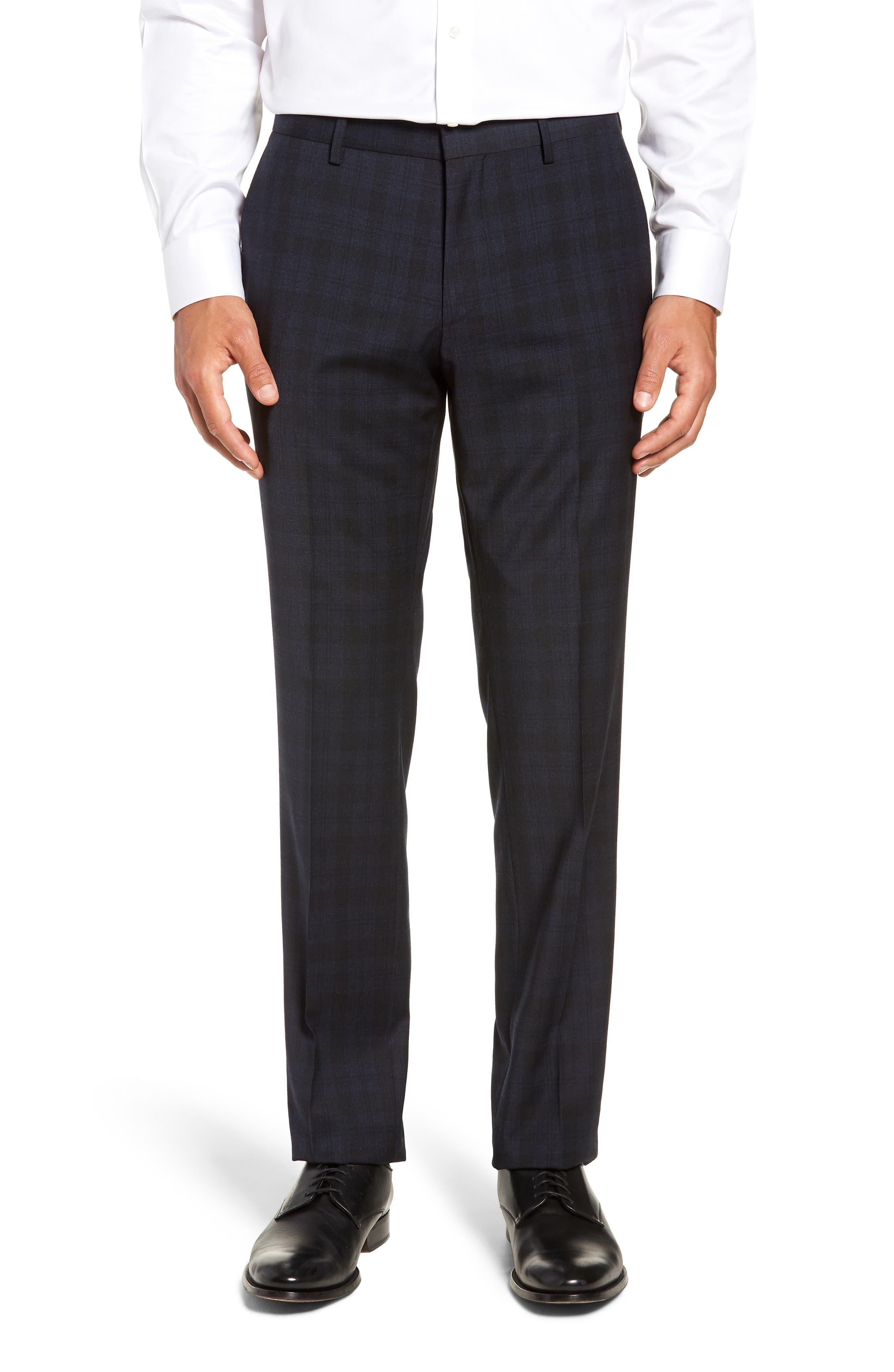Huge/Genius Trim Fit Stretch Plaid Wool Suit,                             Alternate thumbnail 5, color,                             480