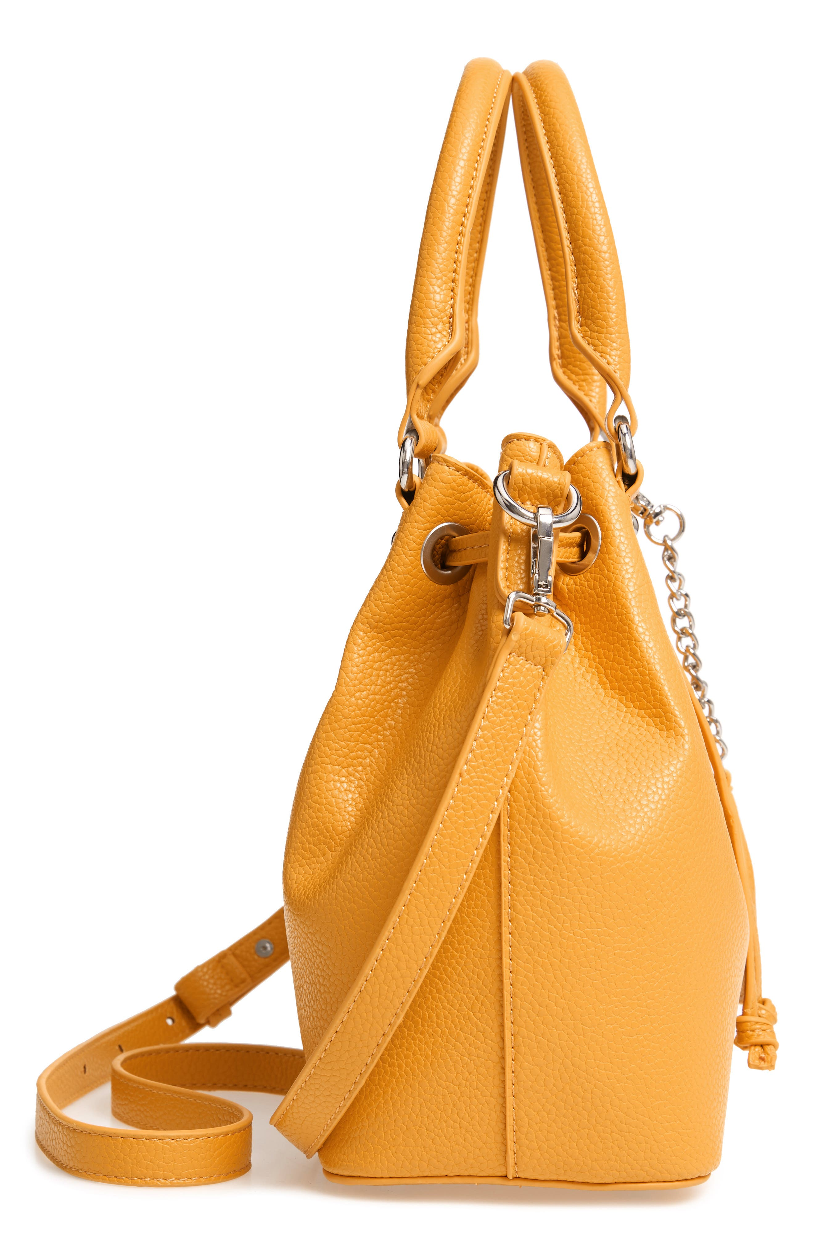 Baudrie Faux Leather Satchel,                             Alternate thumbnail 5, color,                             MUSTARD