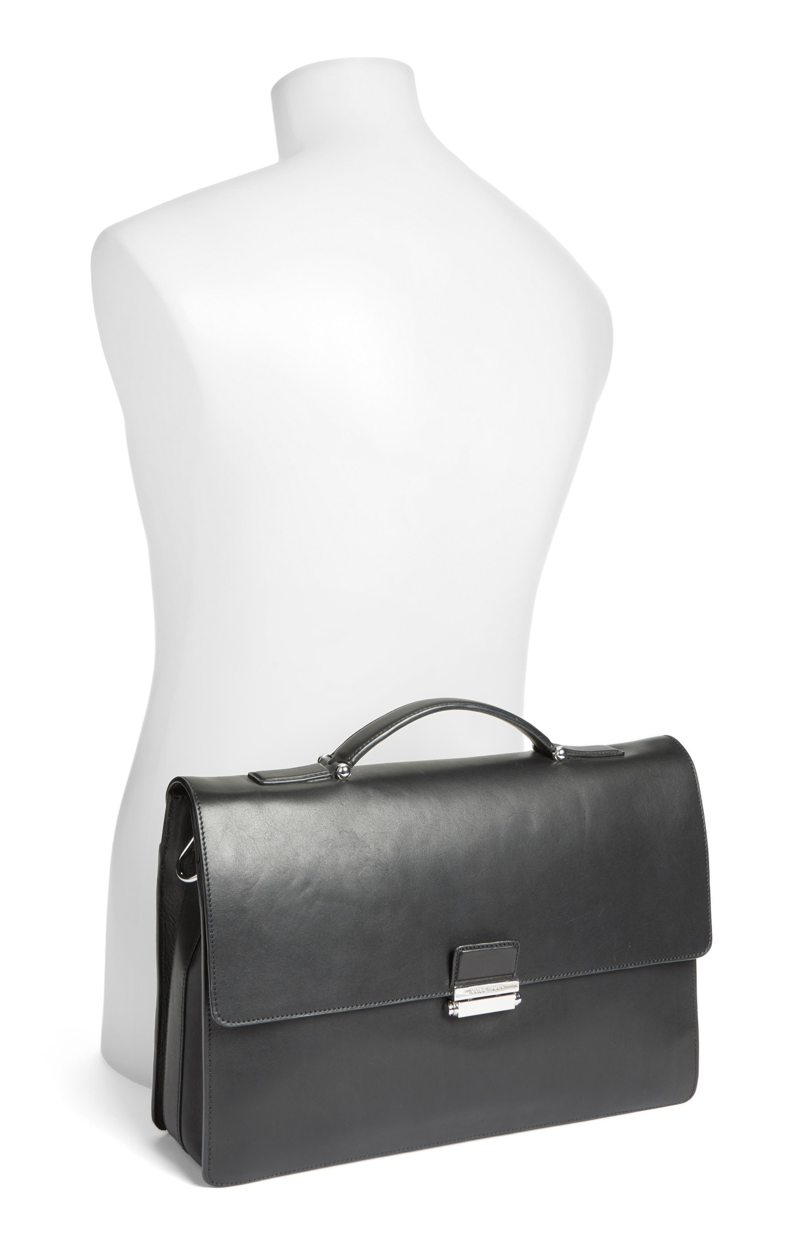Leather Briefcase,                             Alternate thumbnail 2, color,                             001