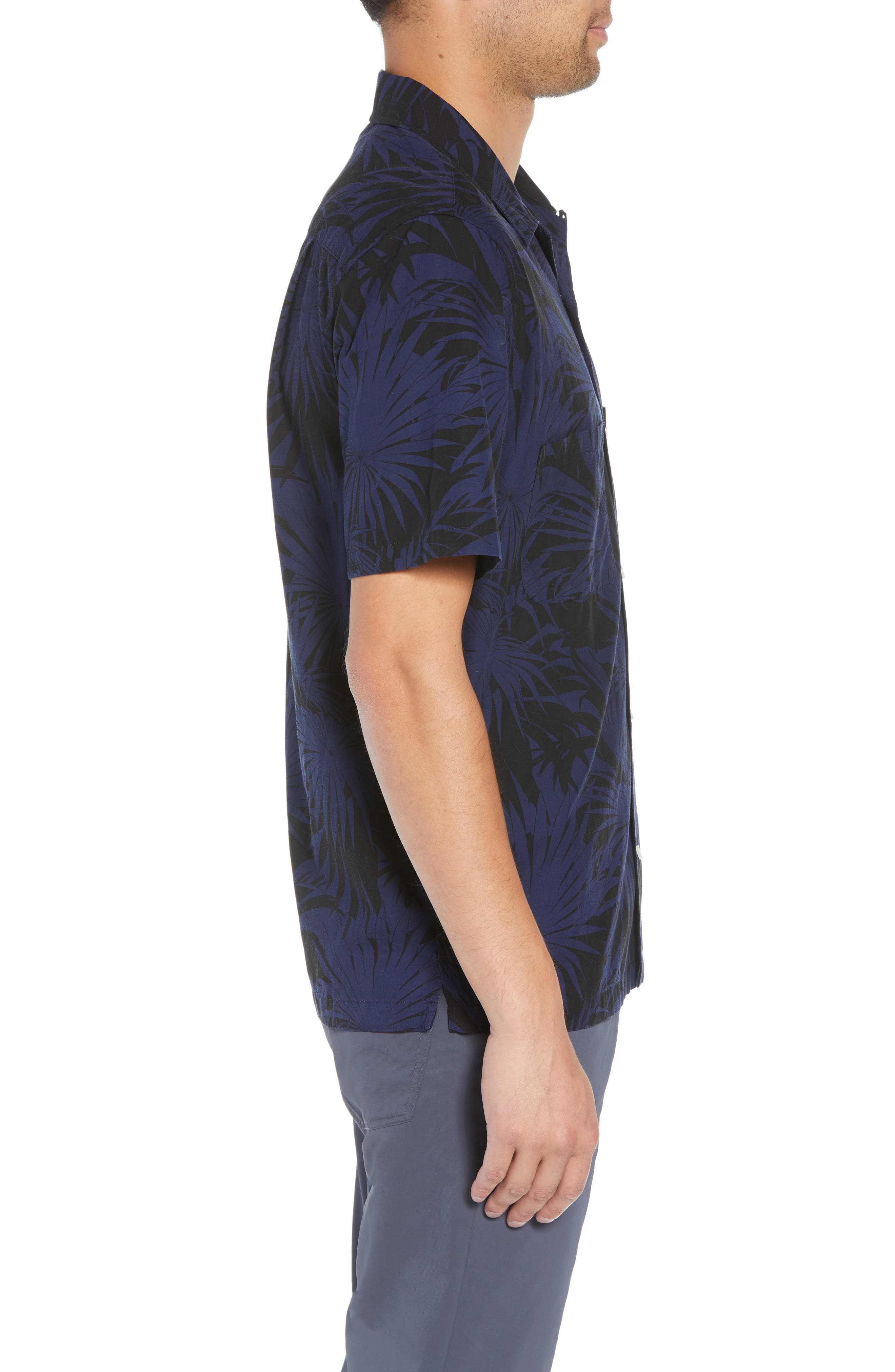 Palm Leaf Cabana Woven Shirt,                             Alternate thumbnail 4, color,                             001