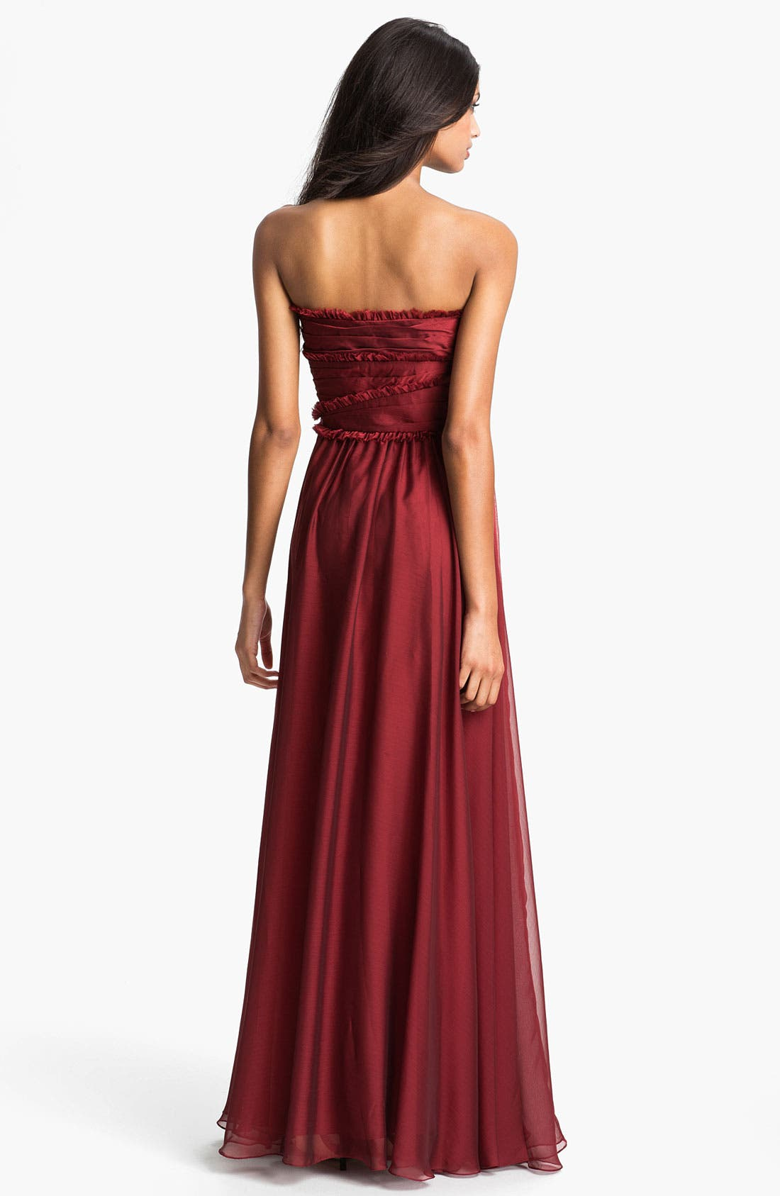 ML Monique Lhuillier Bridesmaids Strapless Chiffon Gown,                             Alternate thumbnail 31, color,
