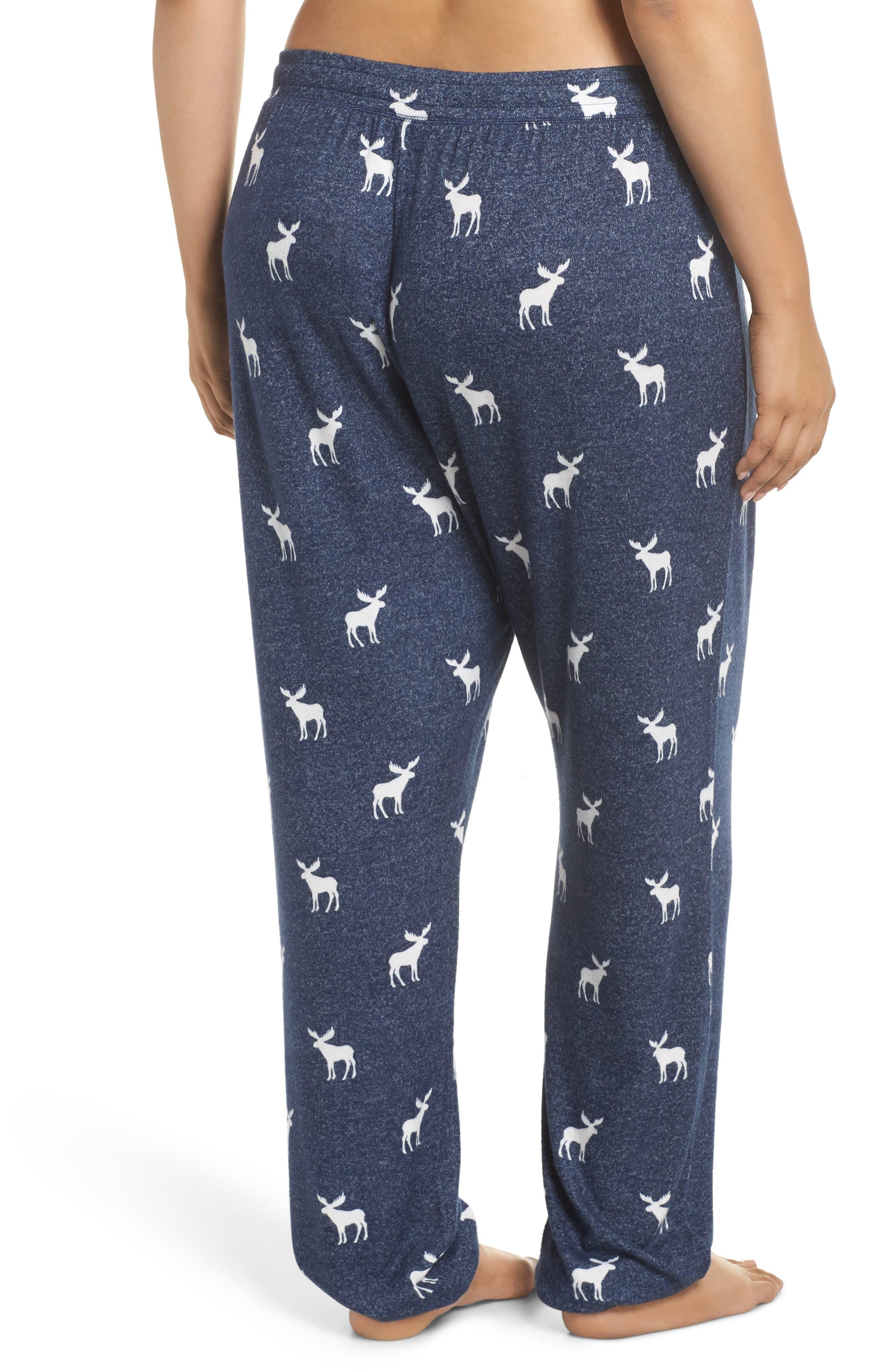 Moose Print Banded Pajama Pants,                             Alternate thumbnail 2, color,                             NAVY