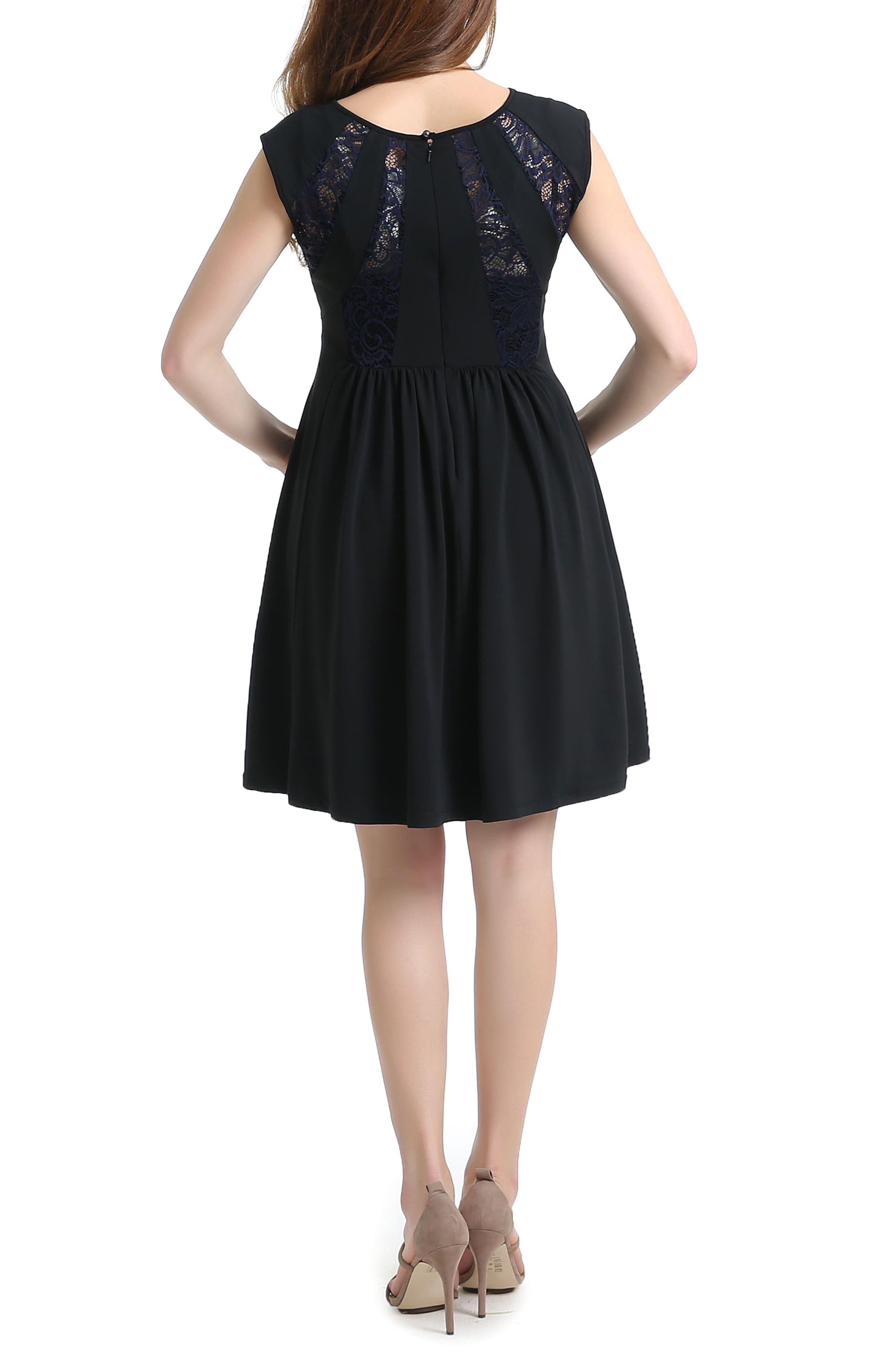 Lara Lace Trim Maternity Dress,                             Alternate thumbnail 2, color,                             001