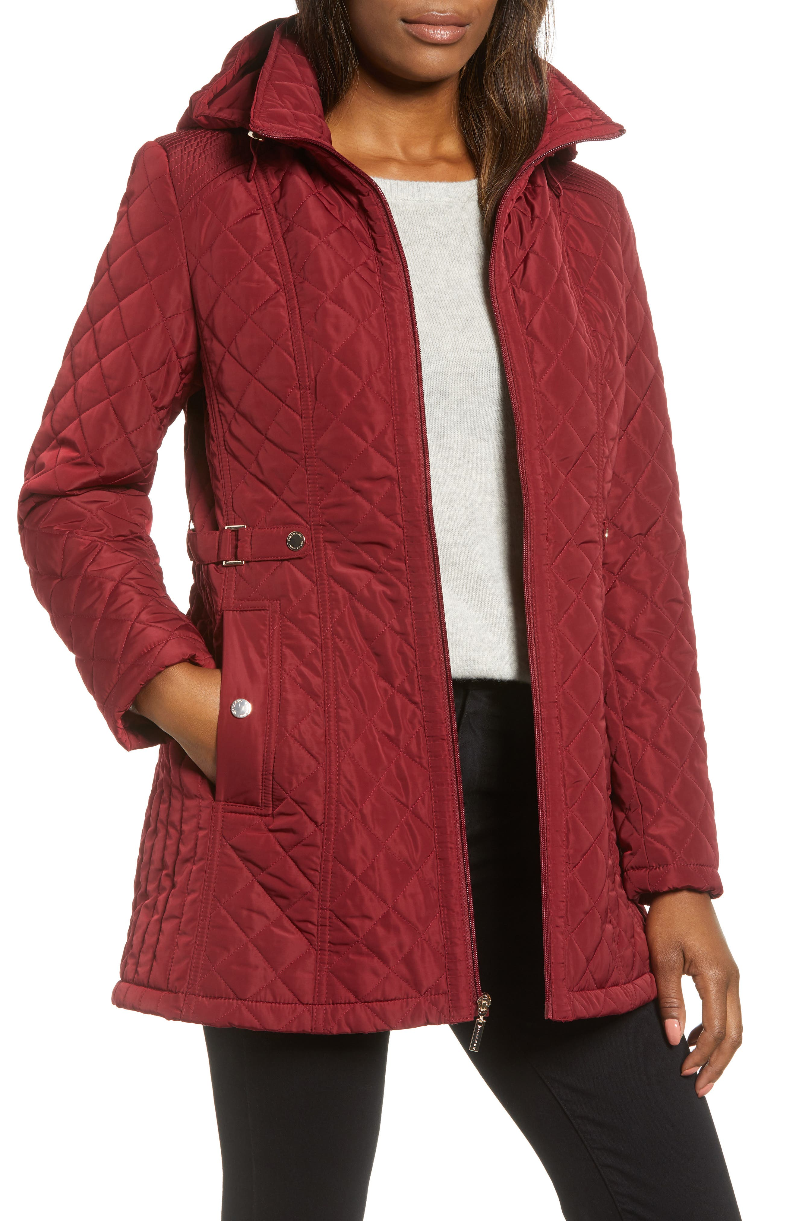 Quilted Hooded Jacket,                         Main,                         color, MERLOT