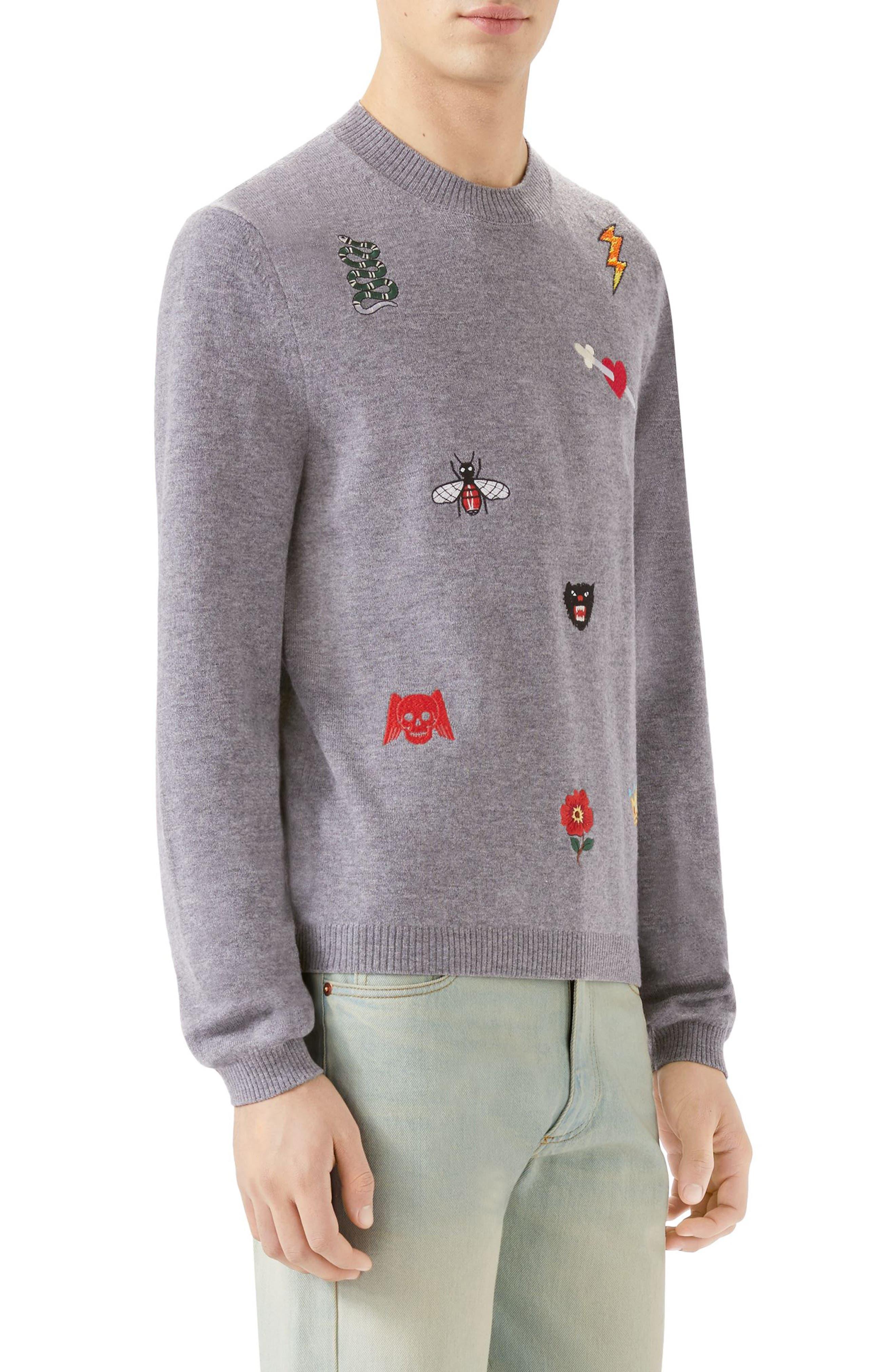 Embroidered Wool Crewneck Sweater,                             Alternate thumbnail 3, color,                             MEDIUM GREY
