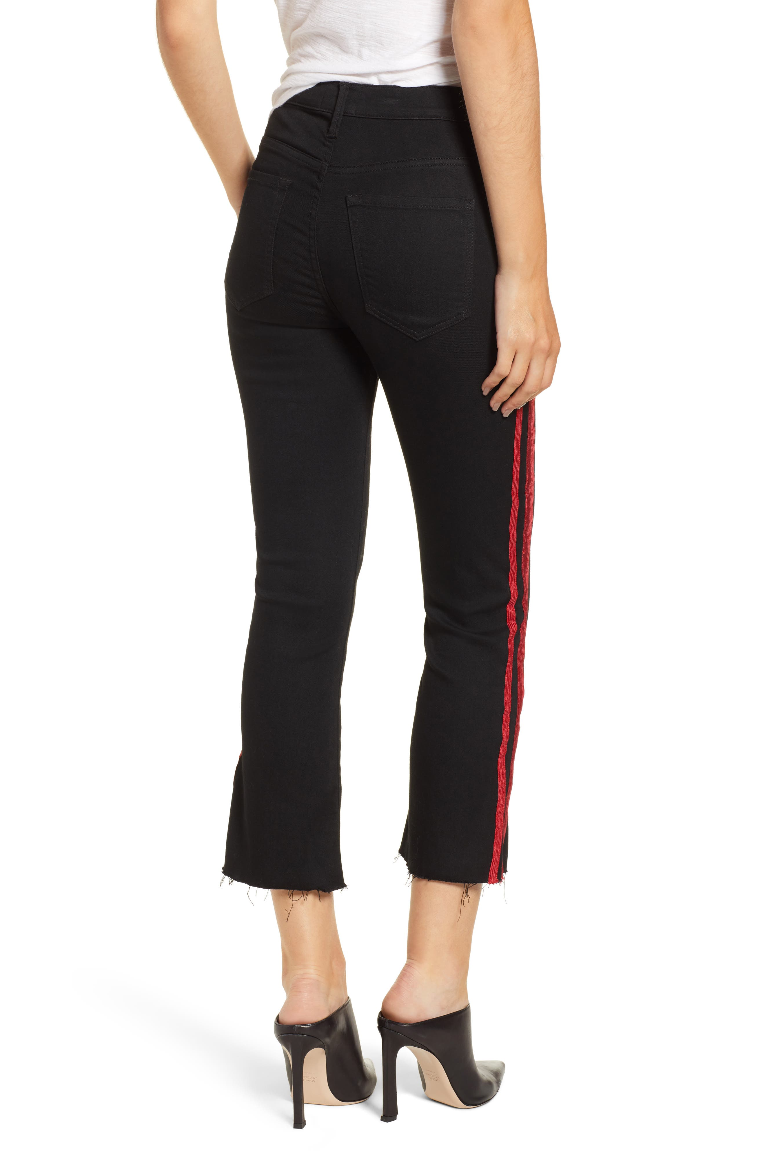 Side Stripe Crop Jeans,                             Alternate thumbnail 2, color,                             BLACK