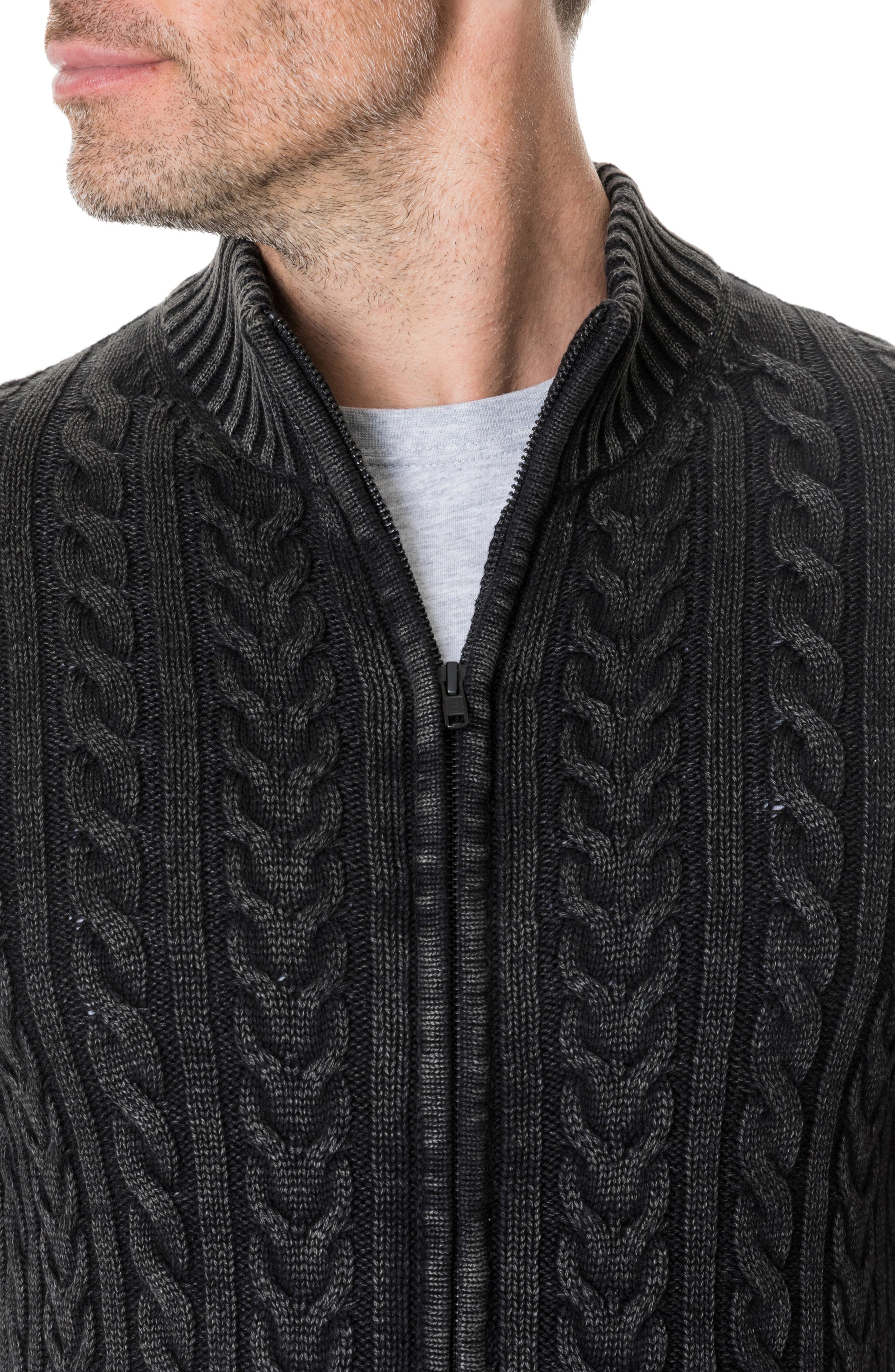 Northope Cable Zip Cardigan,                             Alternate thumbnail 3, color,                             CHARCOAL