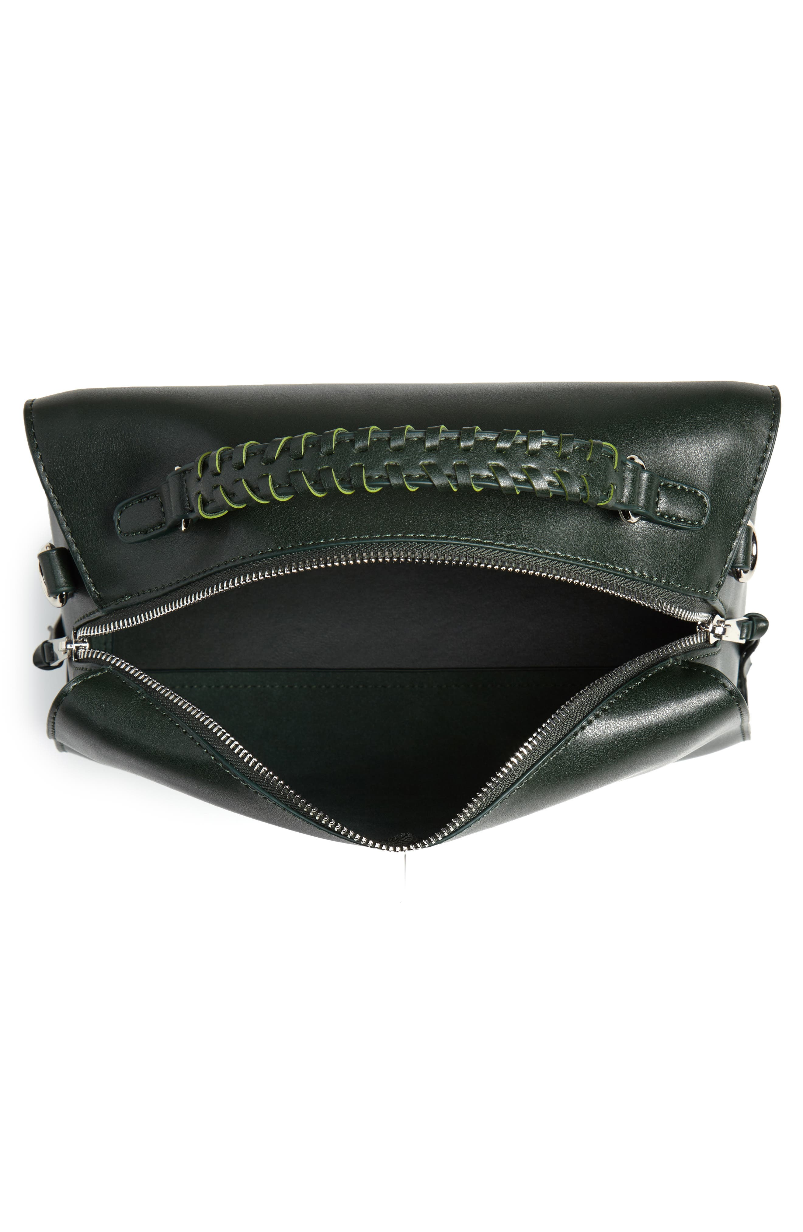 Whipstitch Handle Faux Leather Crossbody Bag,                             Alternate thumbnail 4, color,                             DARK GREEN