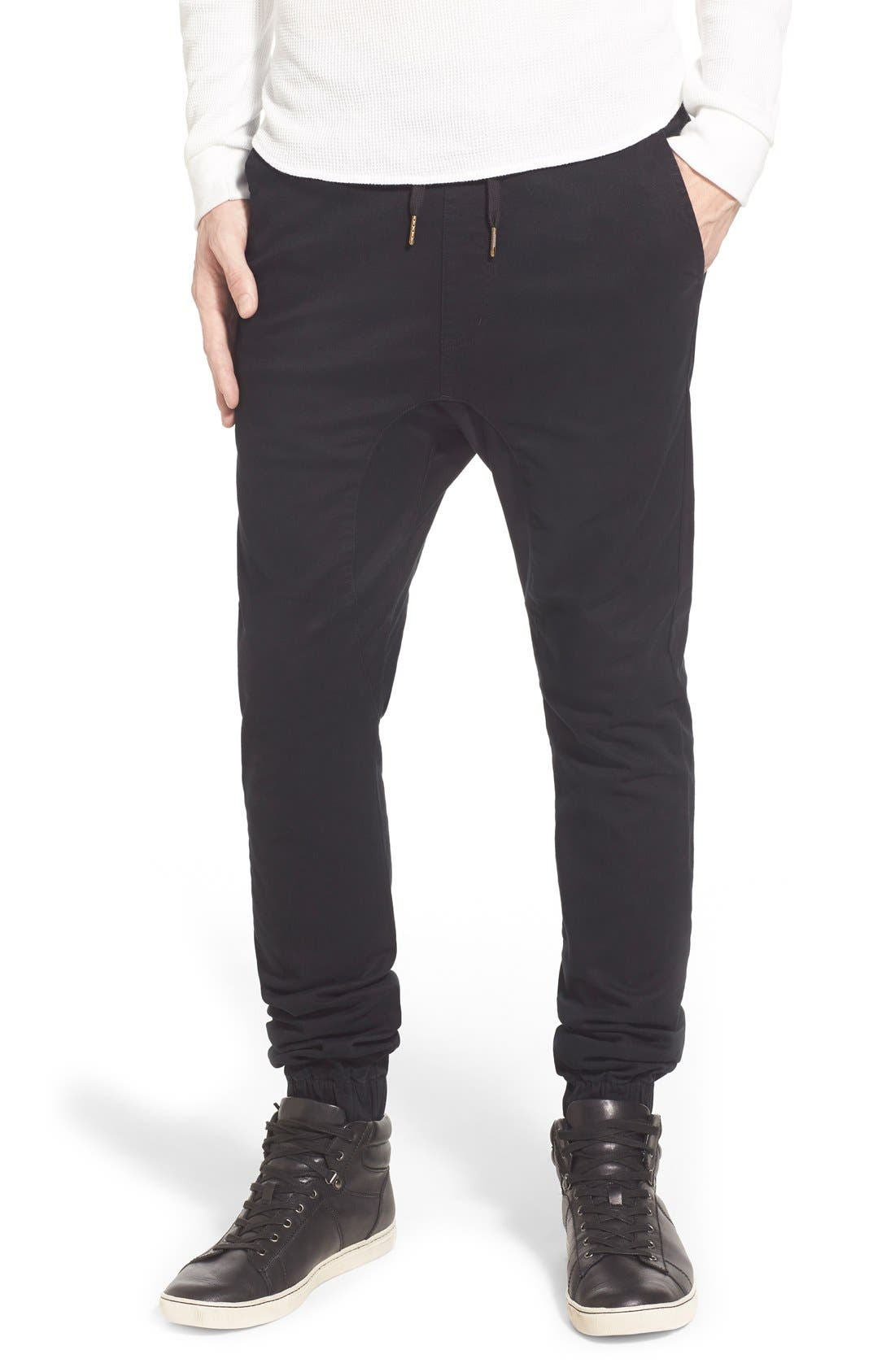 'Sureshot' Slim Tapered Leg Jogger Chinos,                             Main thumbnail 1, color,                             BLACK