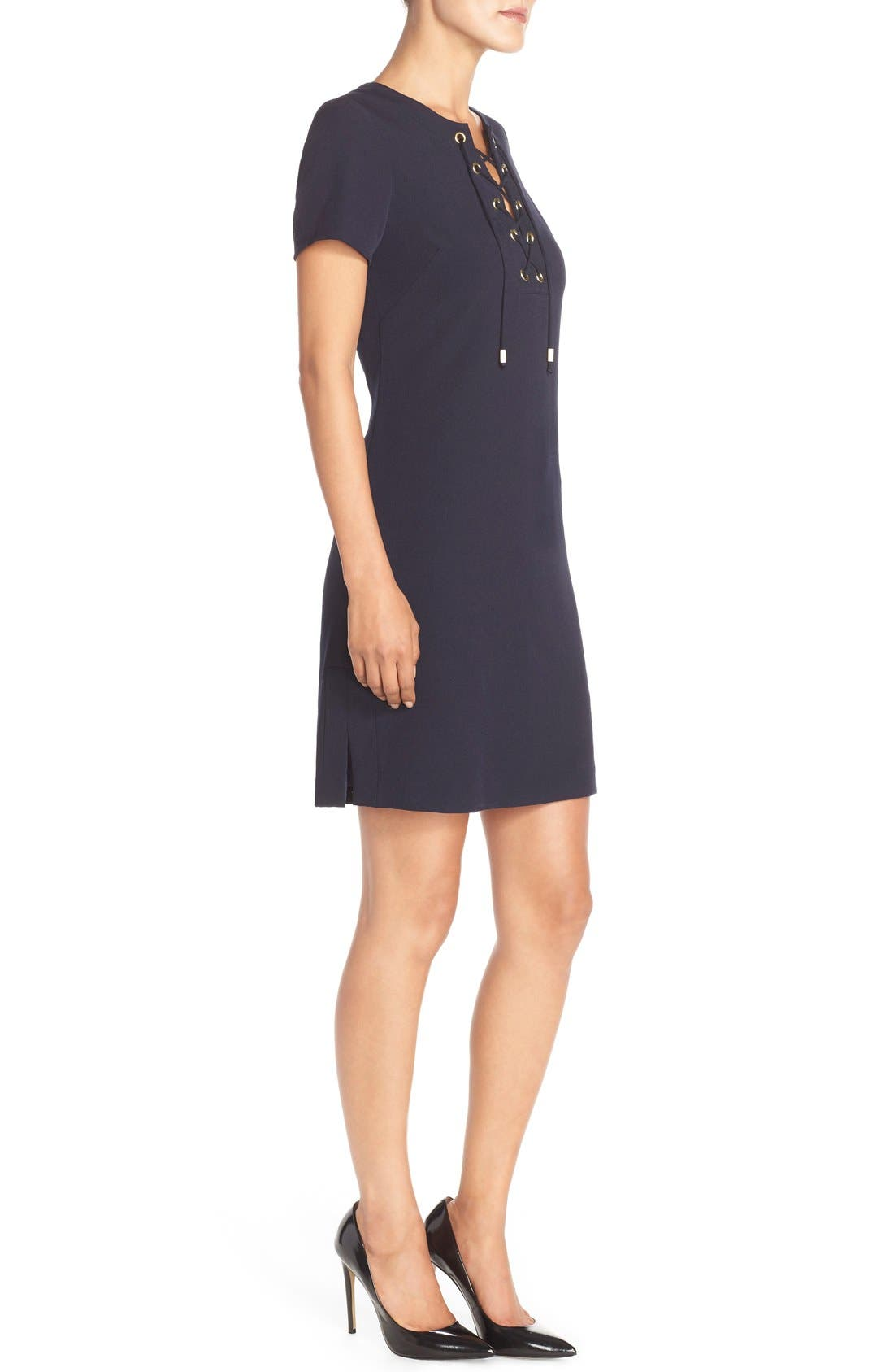 Front Lace Shift Dress,                             Alternate thumbnail 2, color,