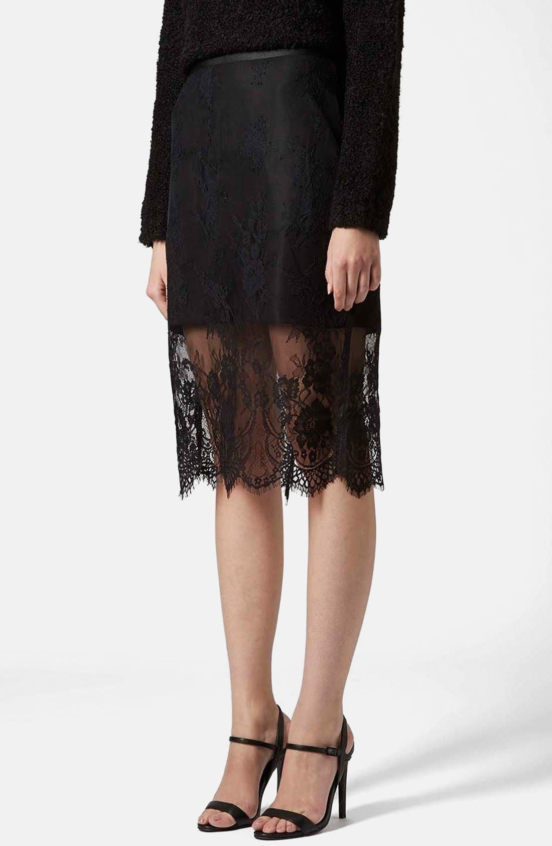 TOPSHOP Lace Overlay Pencil Skirt, Main, color, 001