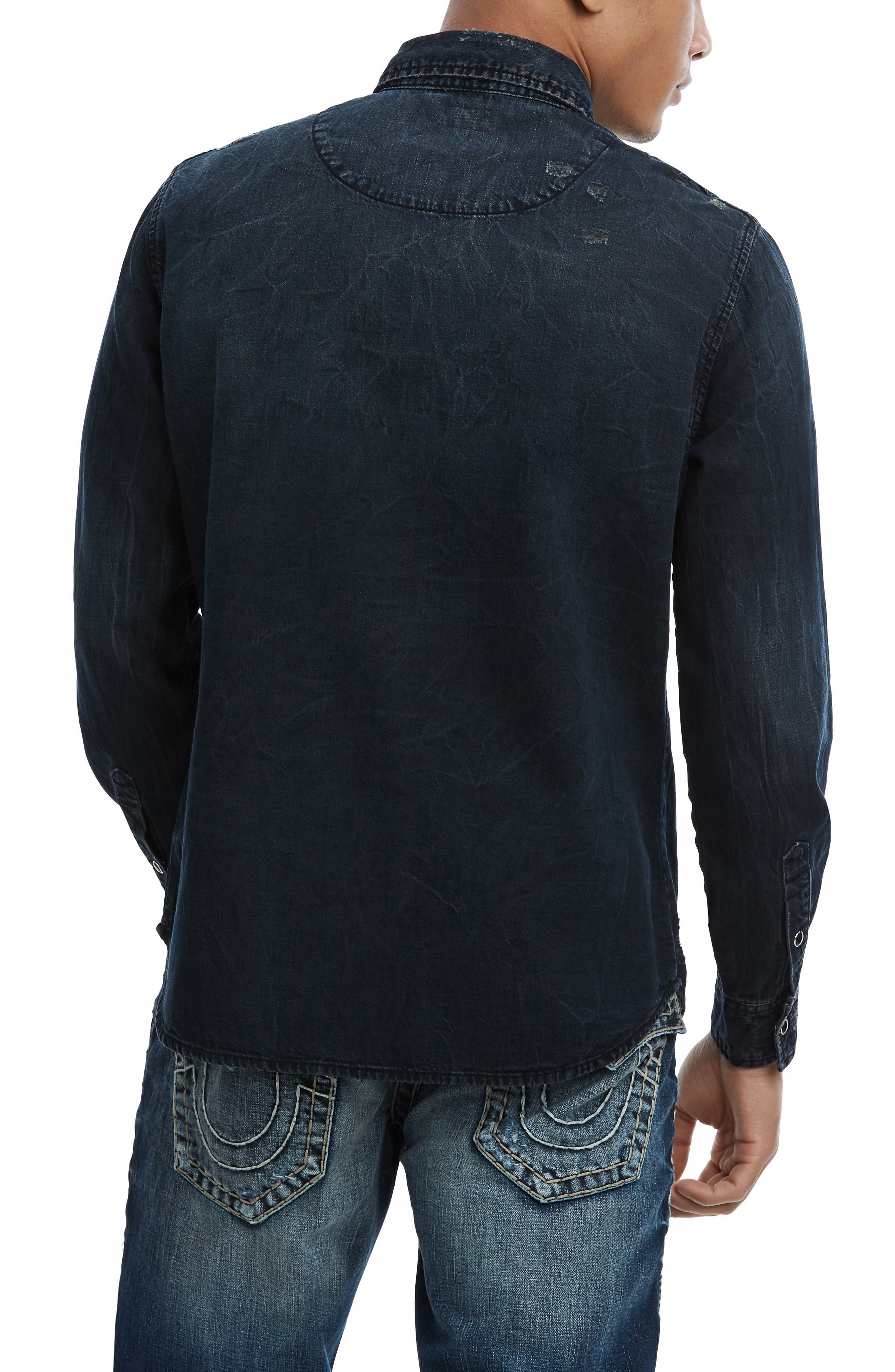 Carter Distressed Denim Shirt,                             Alternate thumbnail 2, color,                             INDIGO RIVAL