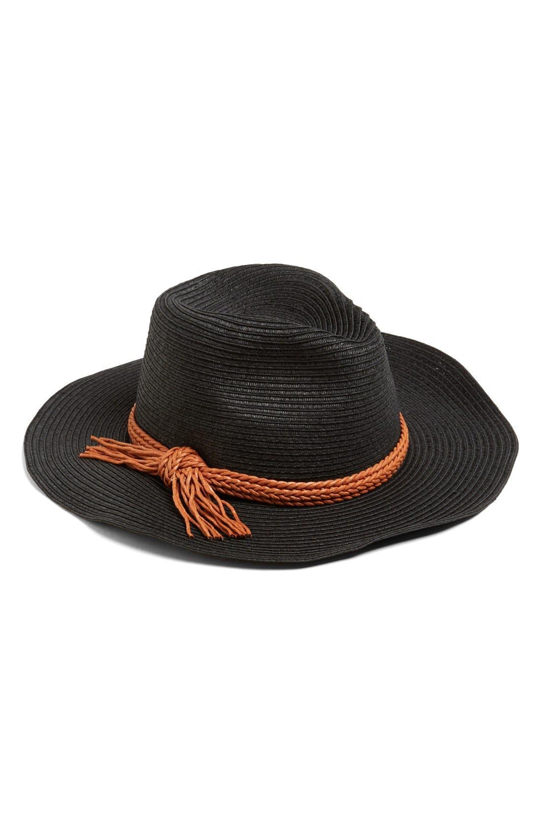 Wide Brim Straw Hat,                         Main,                         color, 001