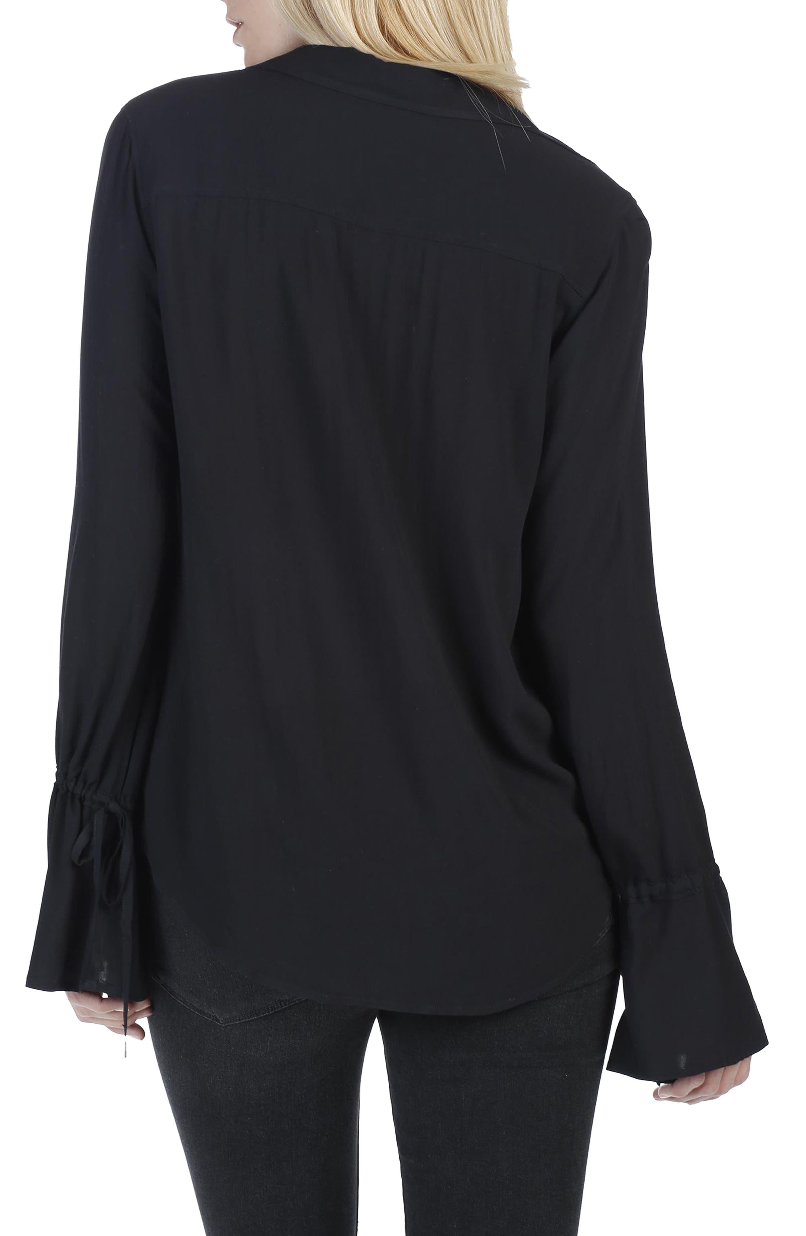 Calissa Split Neck Shirt,                             Alternate thumbnail 3, color,                             001