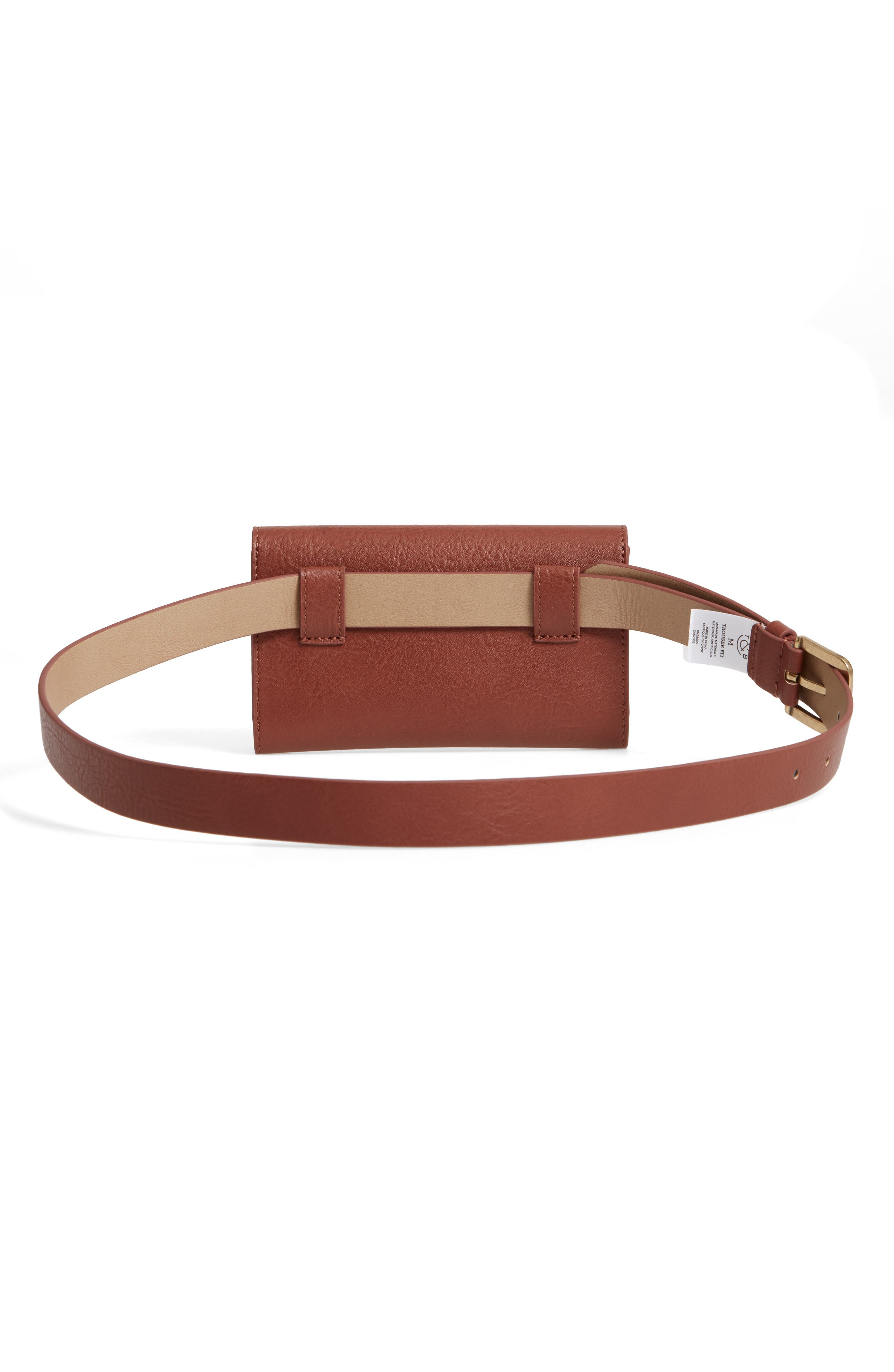 TREASURE & BOND,                             Faux Leather Belt Bag,                             Alternate thumbnail 4, color,                             COGNAC