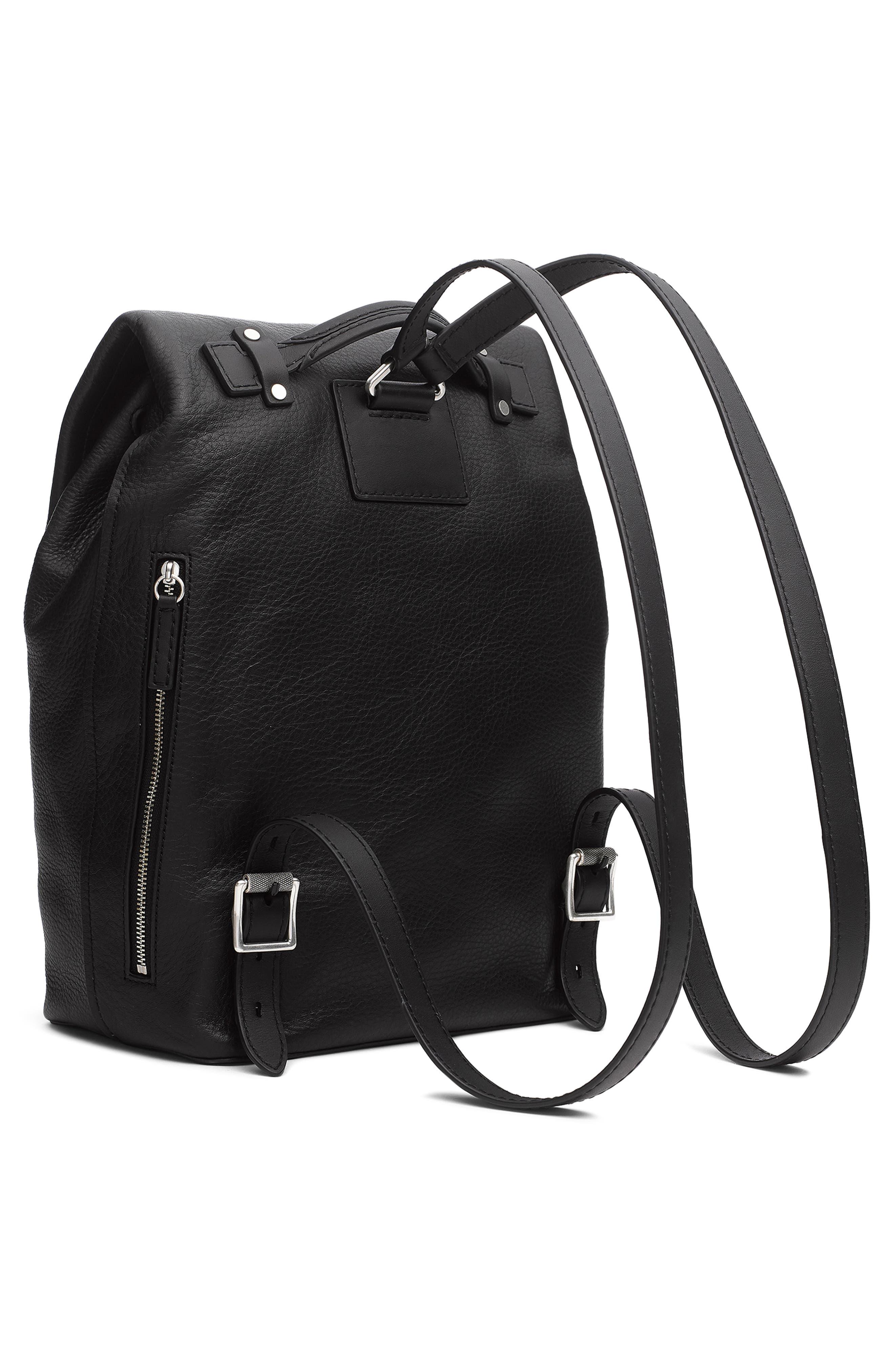 RAG & BONE,                             Loner Leather Backpack,                             Alternate thumbnail 3, color,                             BLACK