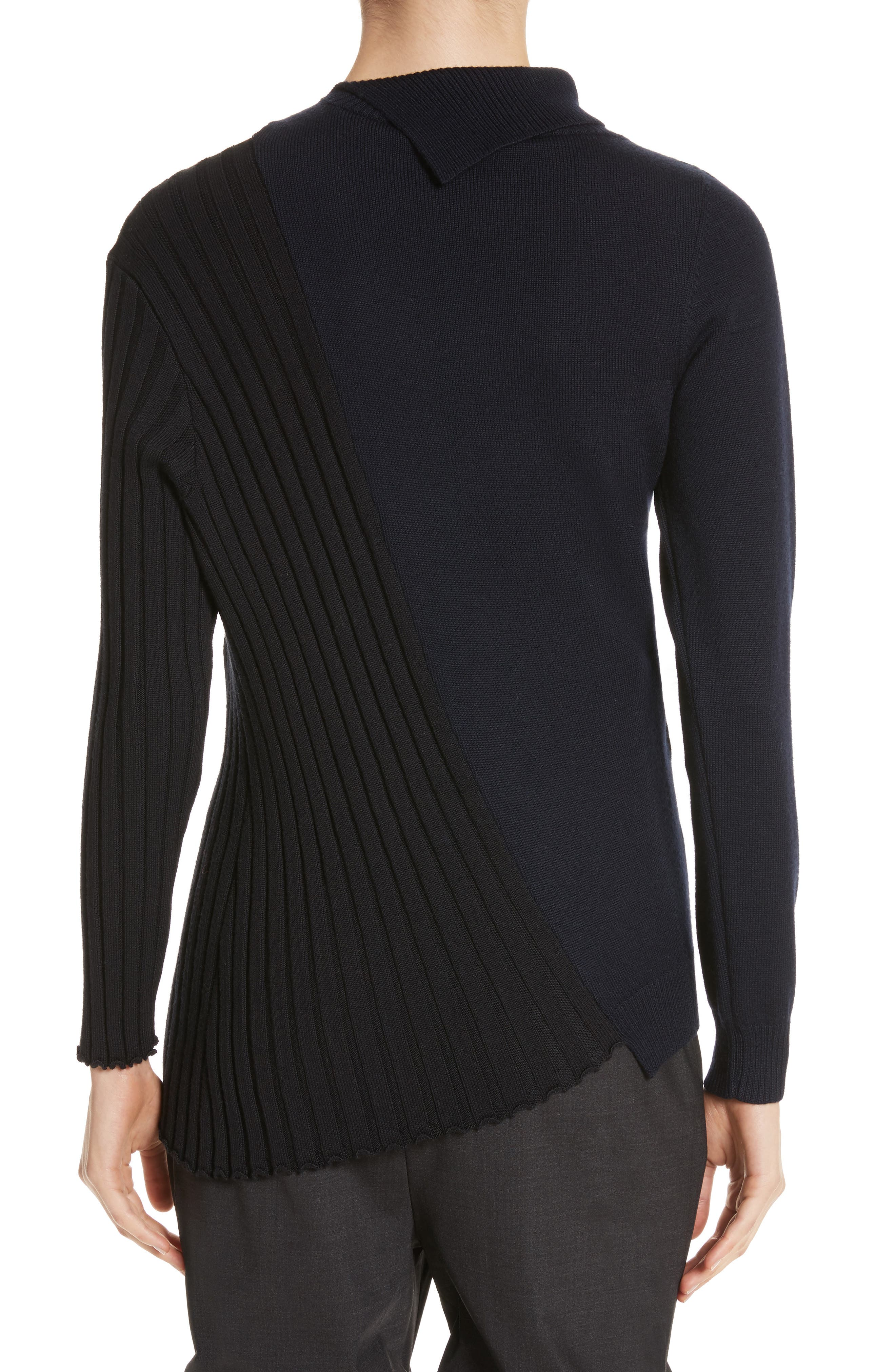 Asymmetrical Button Front Turtleneck Sweater,                             Alternate thumbnail 2, color,                             400