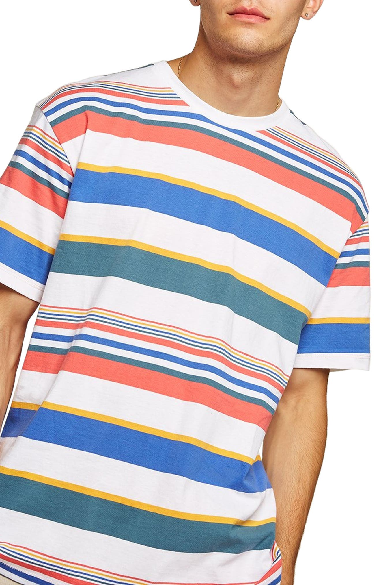 Rainbow Stripe T-Shirt,                             Main thumbnail 1, color,                             WHITE MULTI