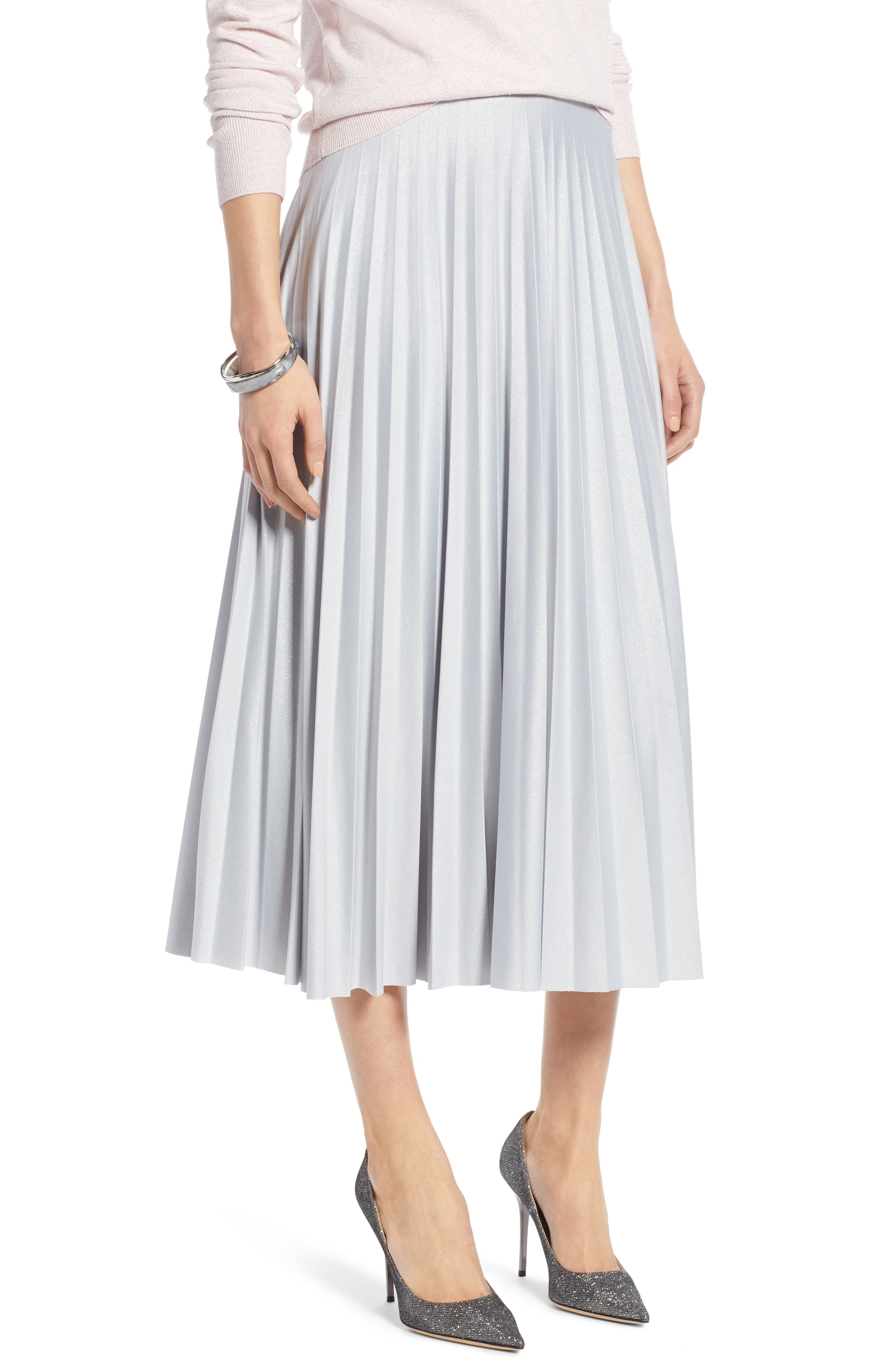 Metallic Pleat Midi Skirt,                             Main thumbnail 1, color,                             GREY- SILVER FOIL