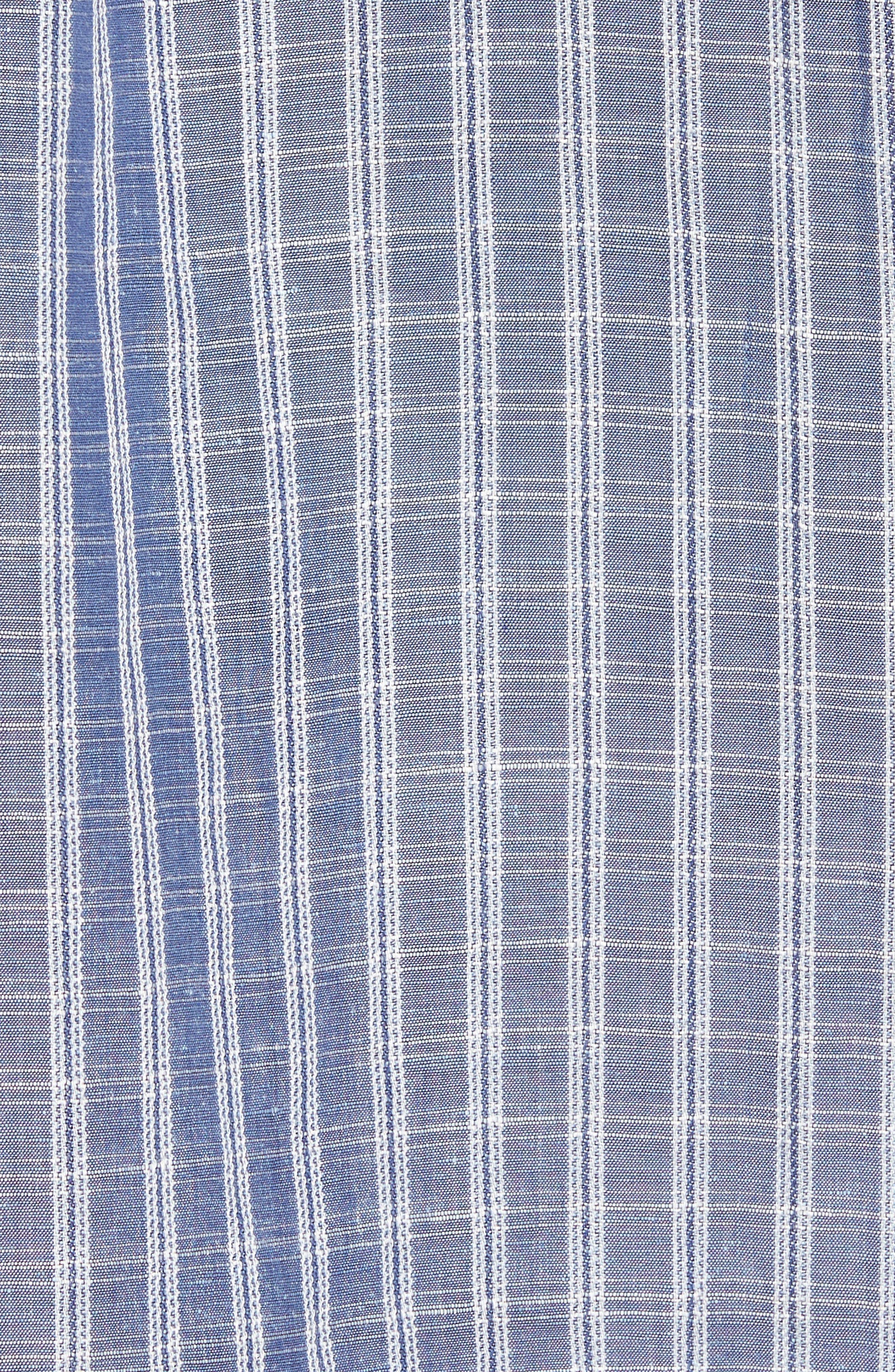 Plaid Sand Linen Blend Sport Shirt,                             Alternate thumbnail 14, color,