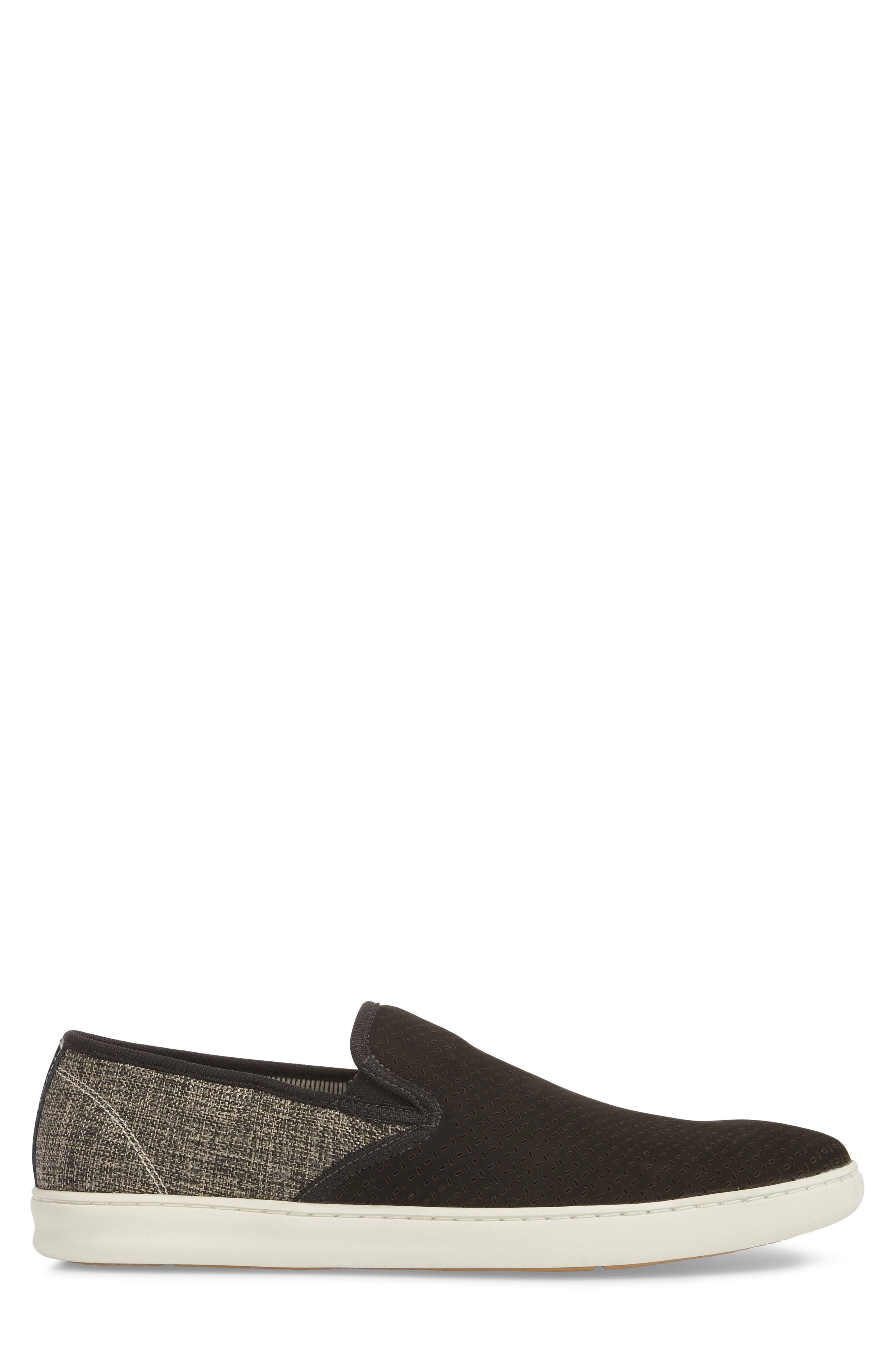 Malibu Perforated Loafer,                             Alternate thumbnail 3, color,                             BLACK LEATHER / GREY CANVAS