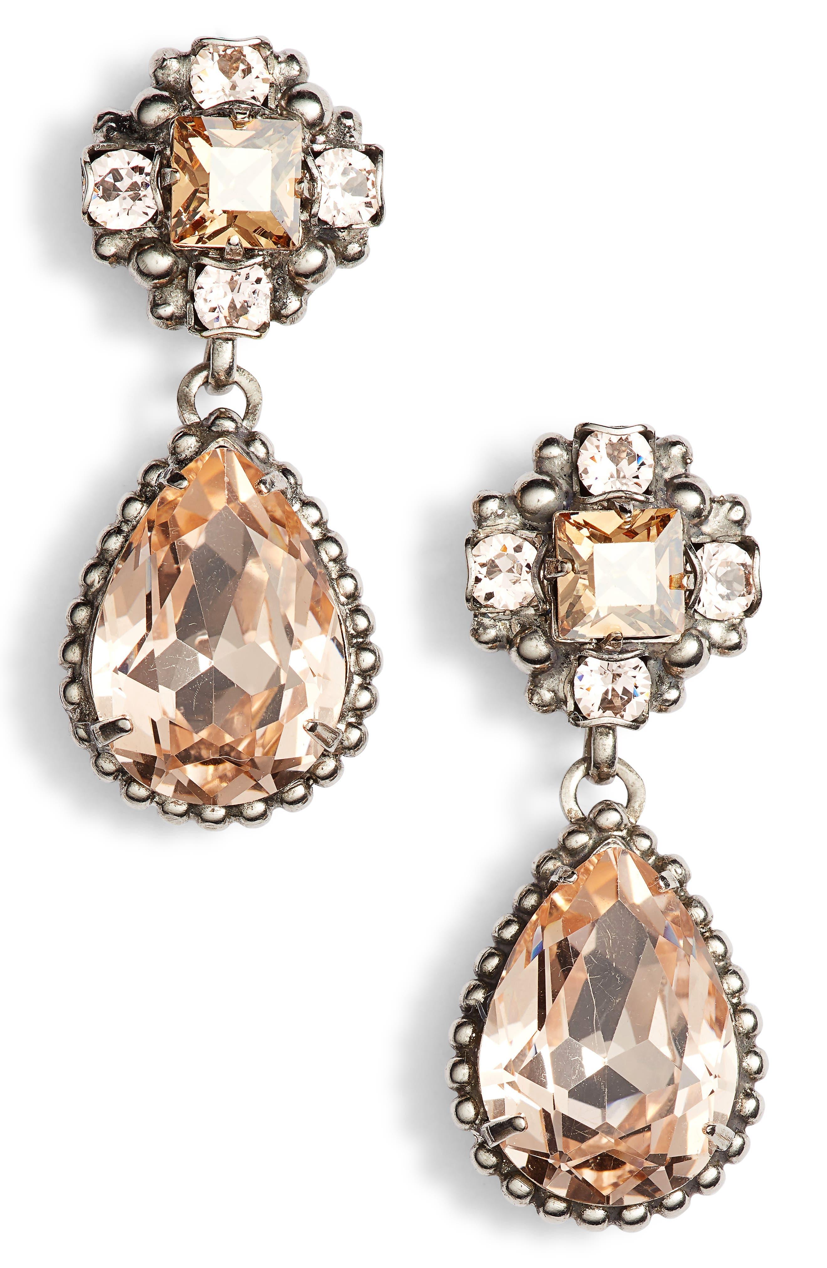 Posey Crystal Drop Earrings,                         Main,                         color, PINK